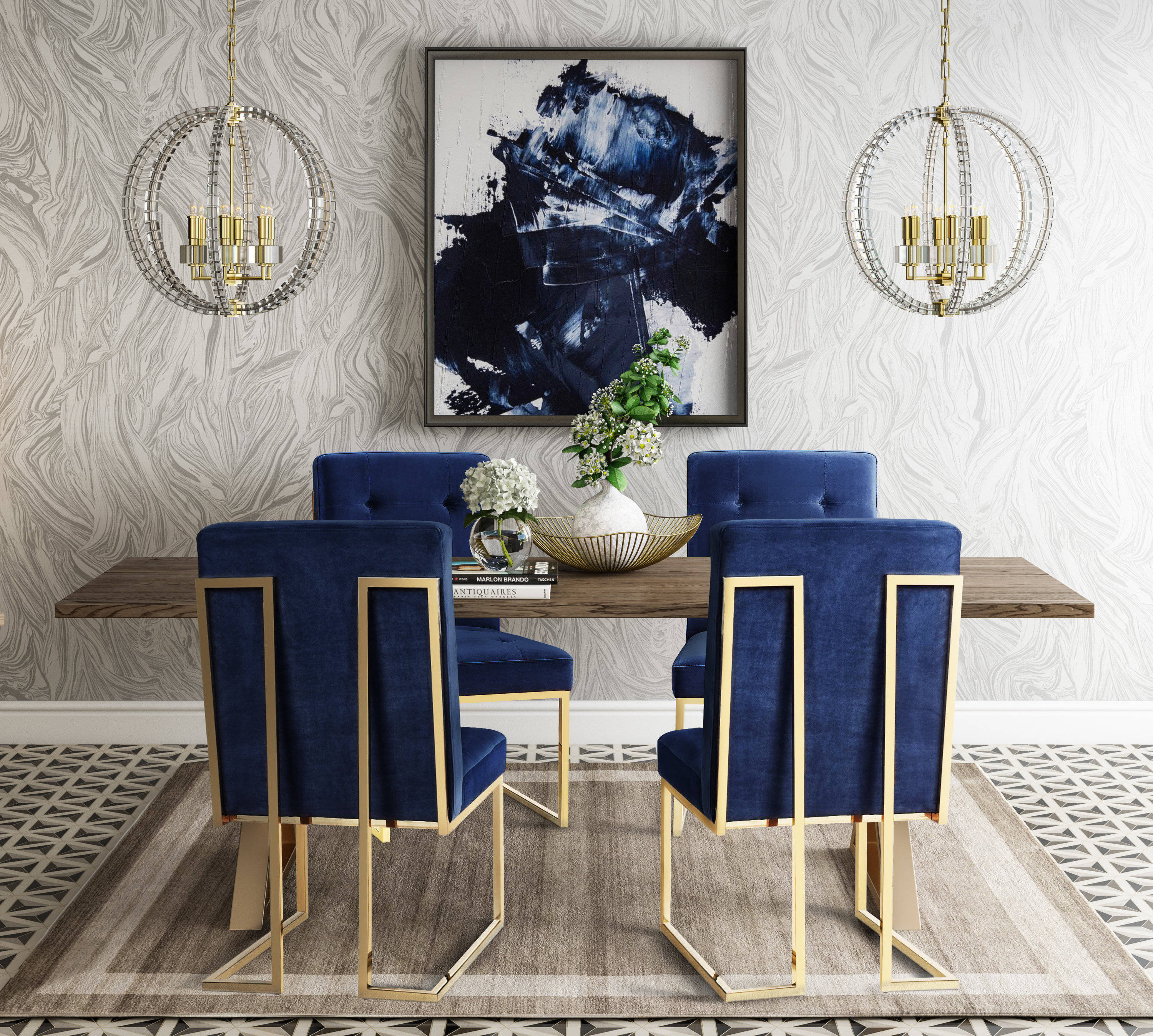 TOV Furniture Leah Brown Navy Gold 5pc Dining Room Set | The Classy Home