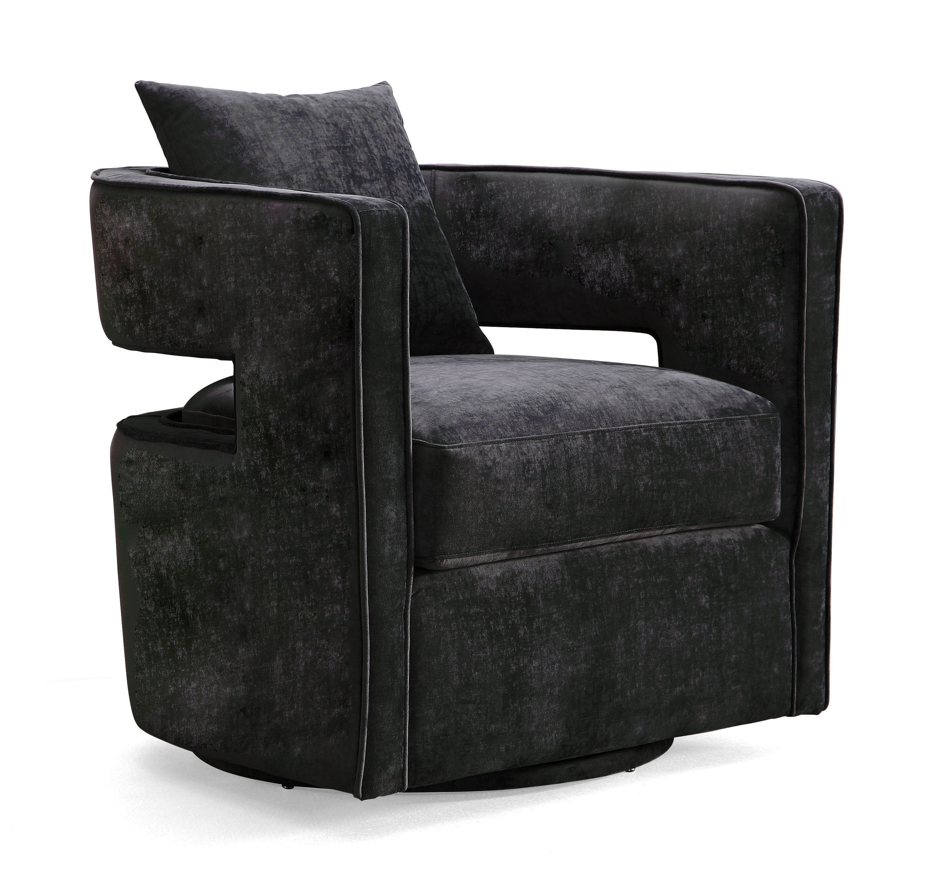 TOV Furniture Kennedy Black Velvet Swivel Chair Click To Enlarge ...