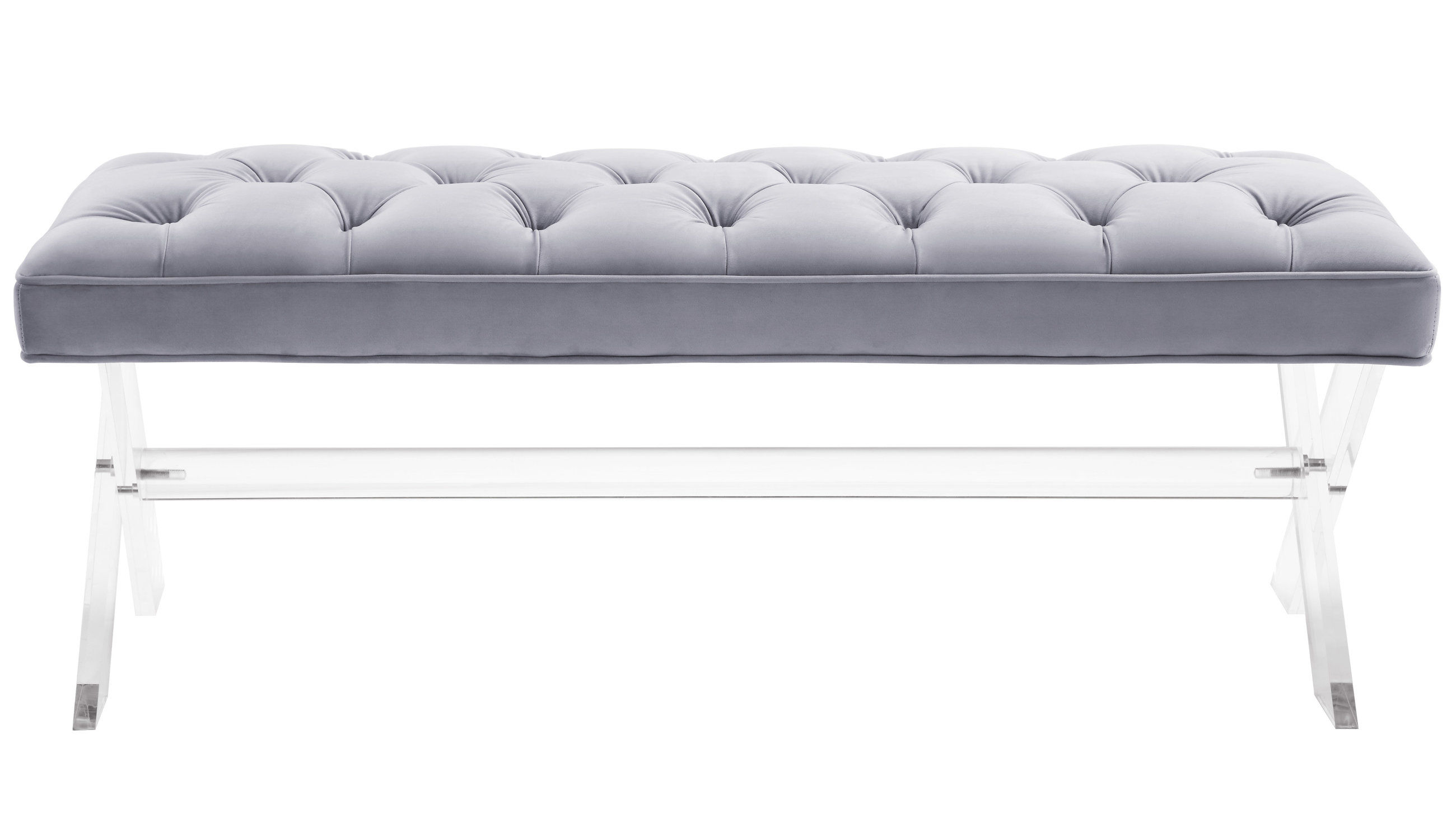 Fine Tov Furniture Claira Grey Lucite Bench Creativecarmelina Interior Chair Design Creativecarmelinacom