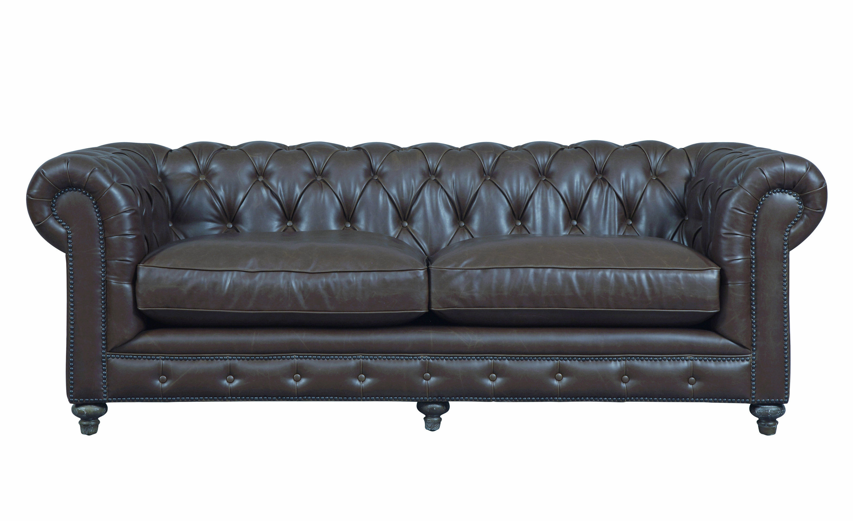 Durango Classic Antique Brown Bonded Leather Oak Legs Sofa ...