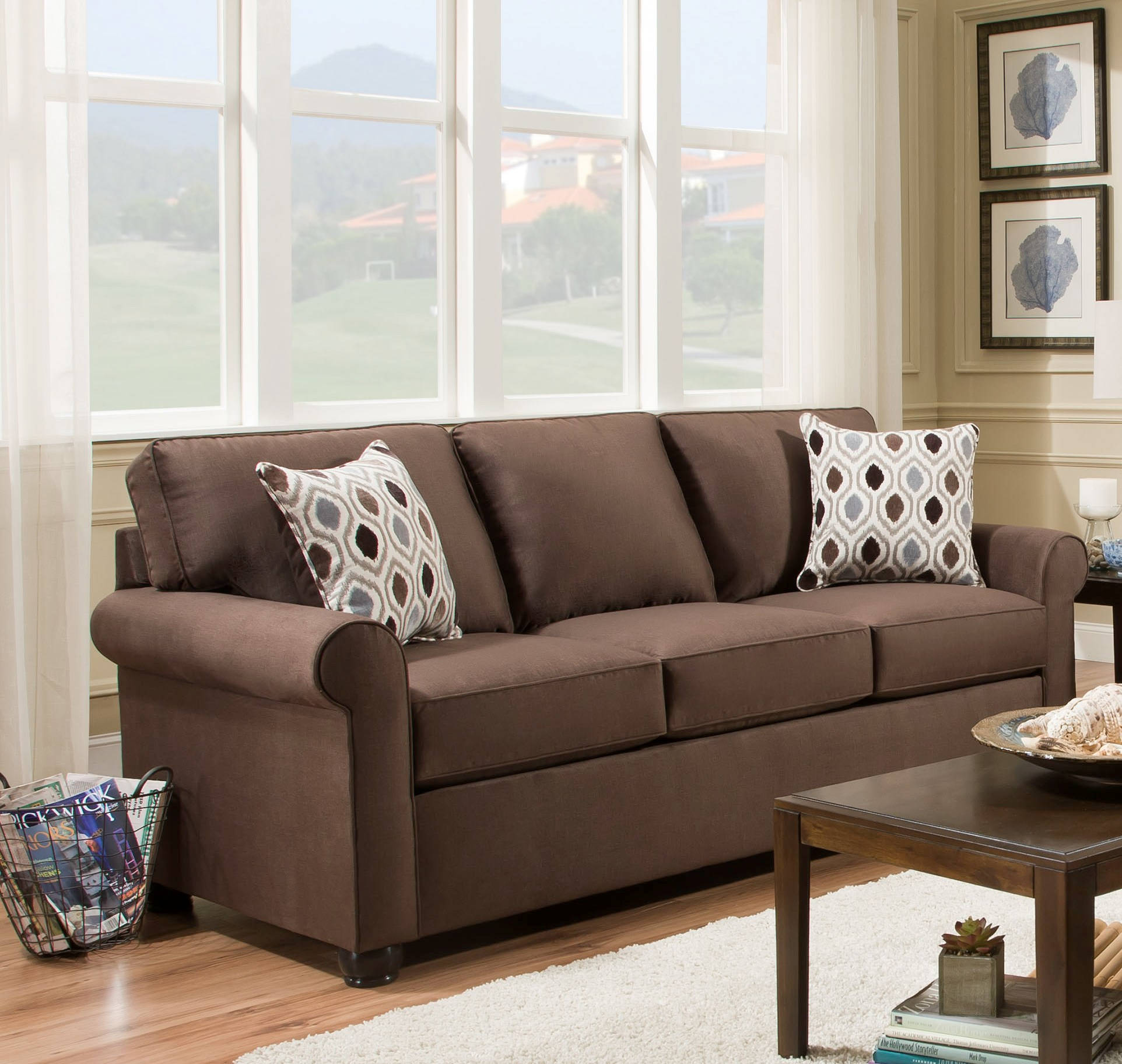 Simmons Transitional Jojo Chocolate Fabric Hardwood Queen Sleeper