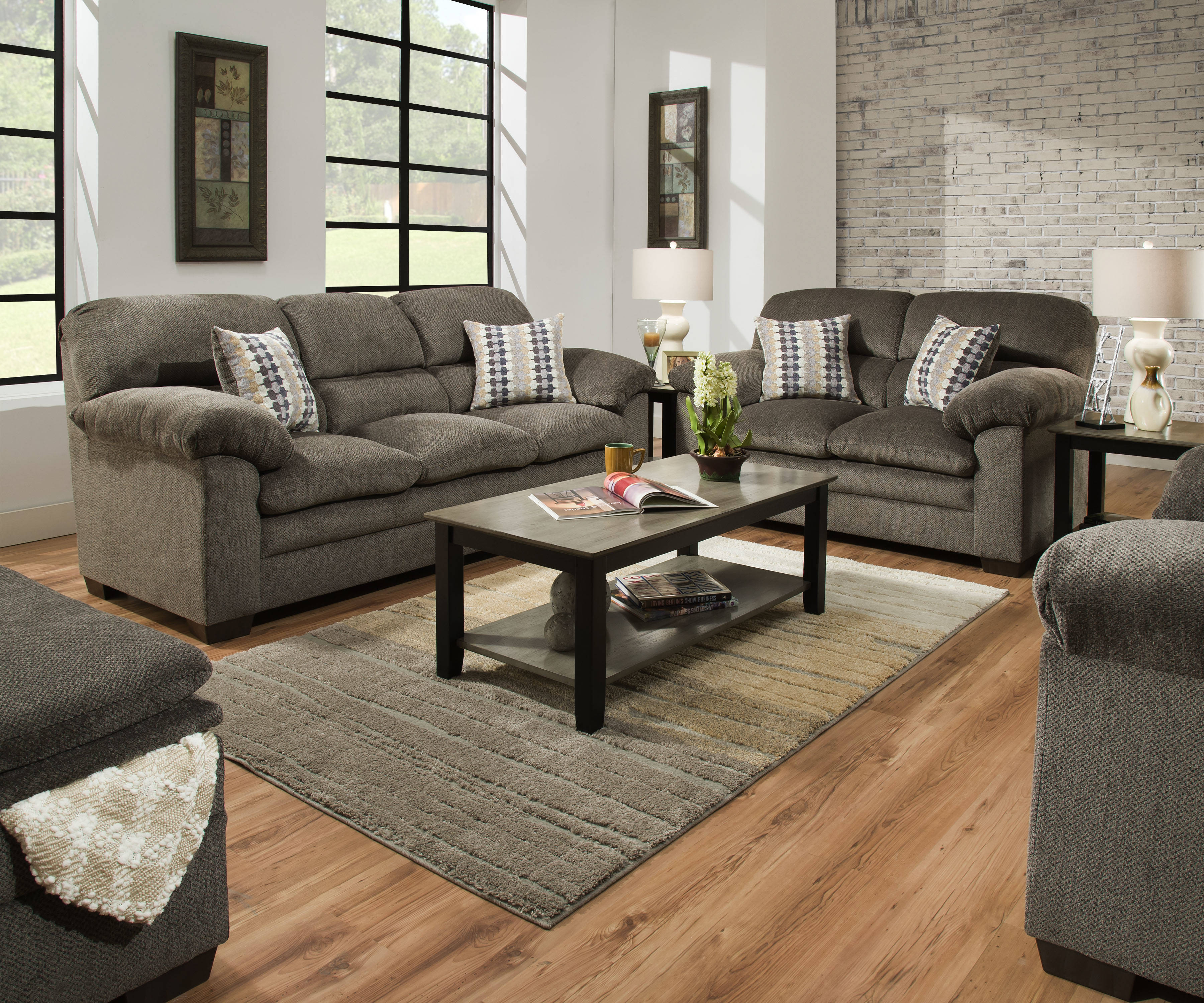 United Furniture Harlow Ash Upholstery Simmons Storage Ottoman The