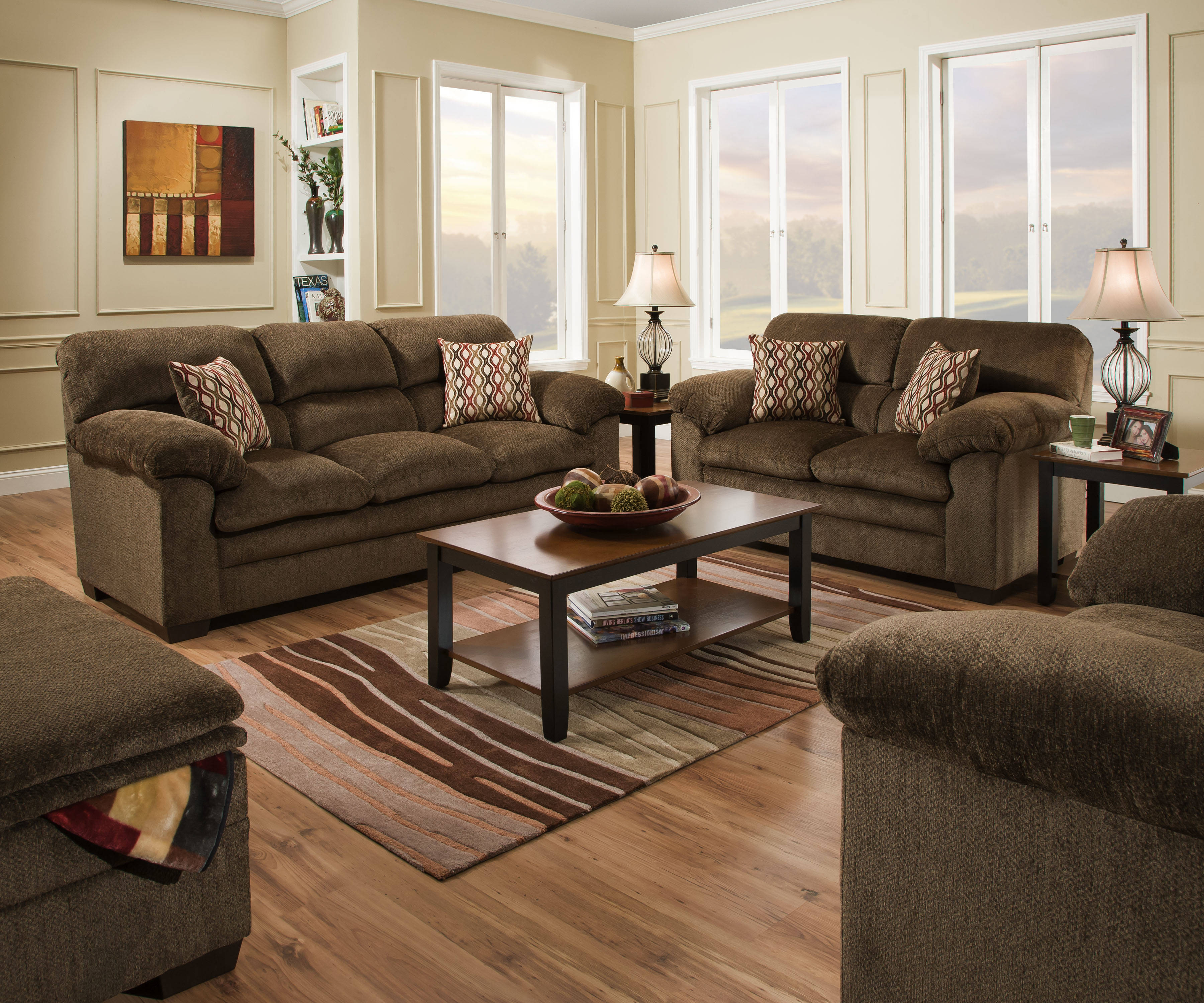 United furniture harlow chestnut chair and ottoman set - Simmons living room furniture sets ...