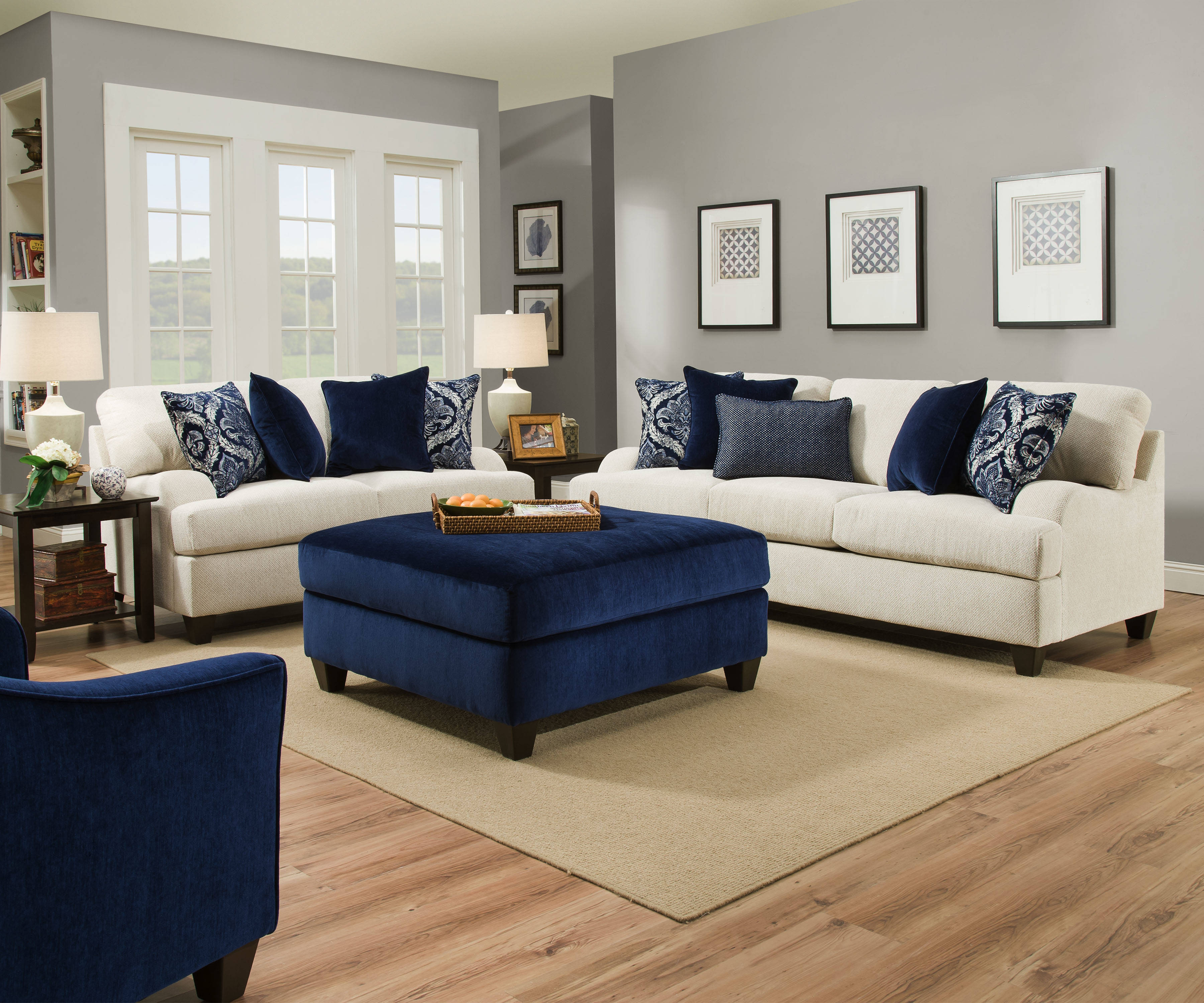 United Furniture Simmons Sophia Stone 3pc Living Room Set