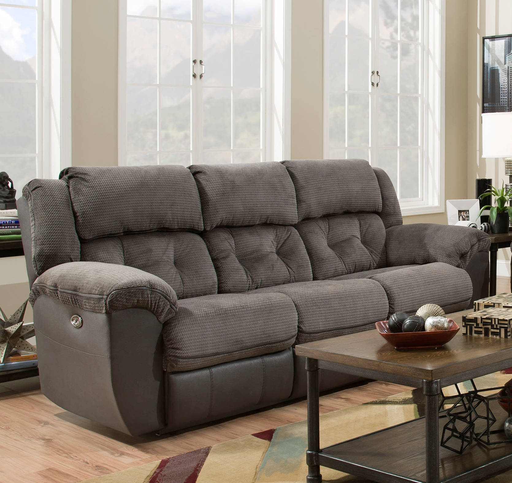 Ashley Furniture Redding Ca: United Furniture Simmons Grey Double Motion Sofa