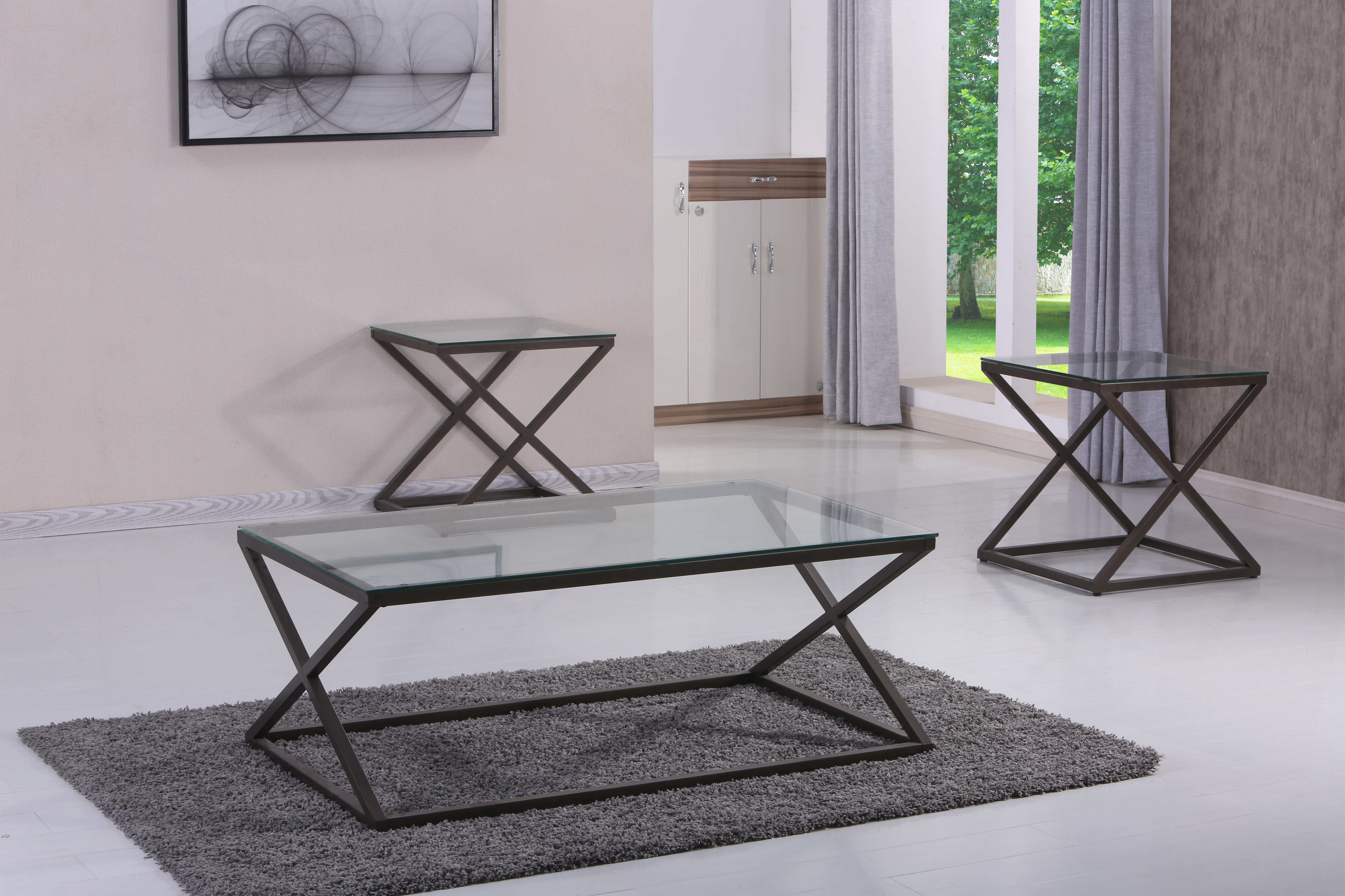 United Furniture Simmons Bronze 3pc Coffee Table Set | The Classy Home