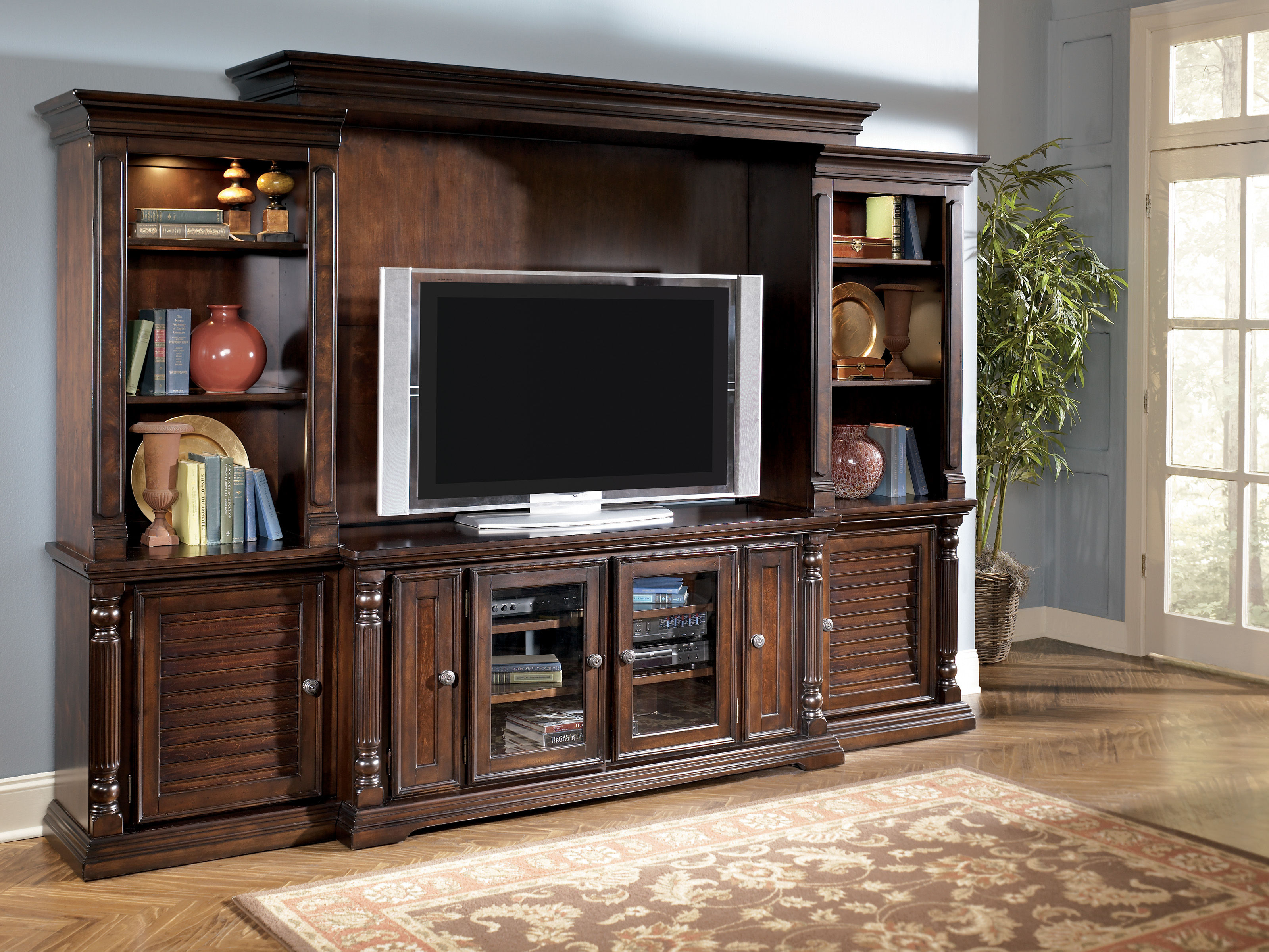 Key Town Traditional Dark Brown Wood Entertainment Center