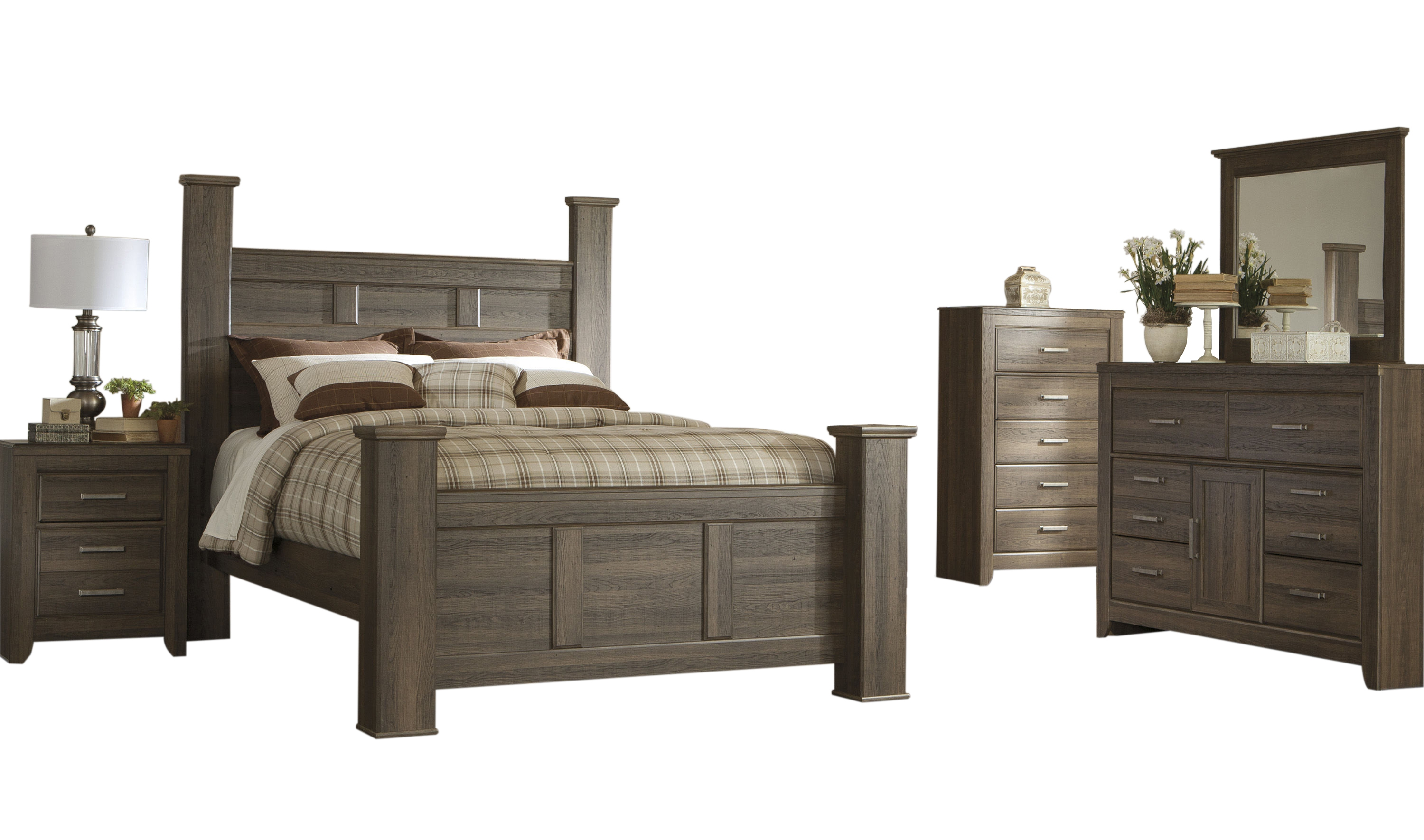 Ashley furniture juararo 2pc bedroom set with queen poster bed the classy home for Ashley bedroom furniture prices