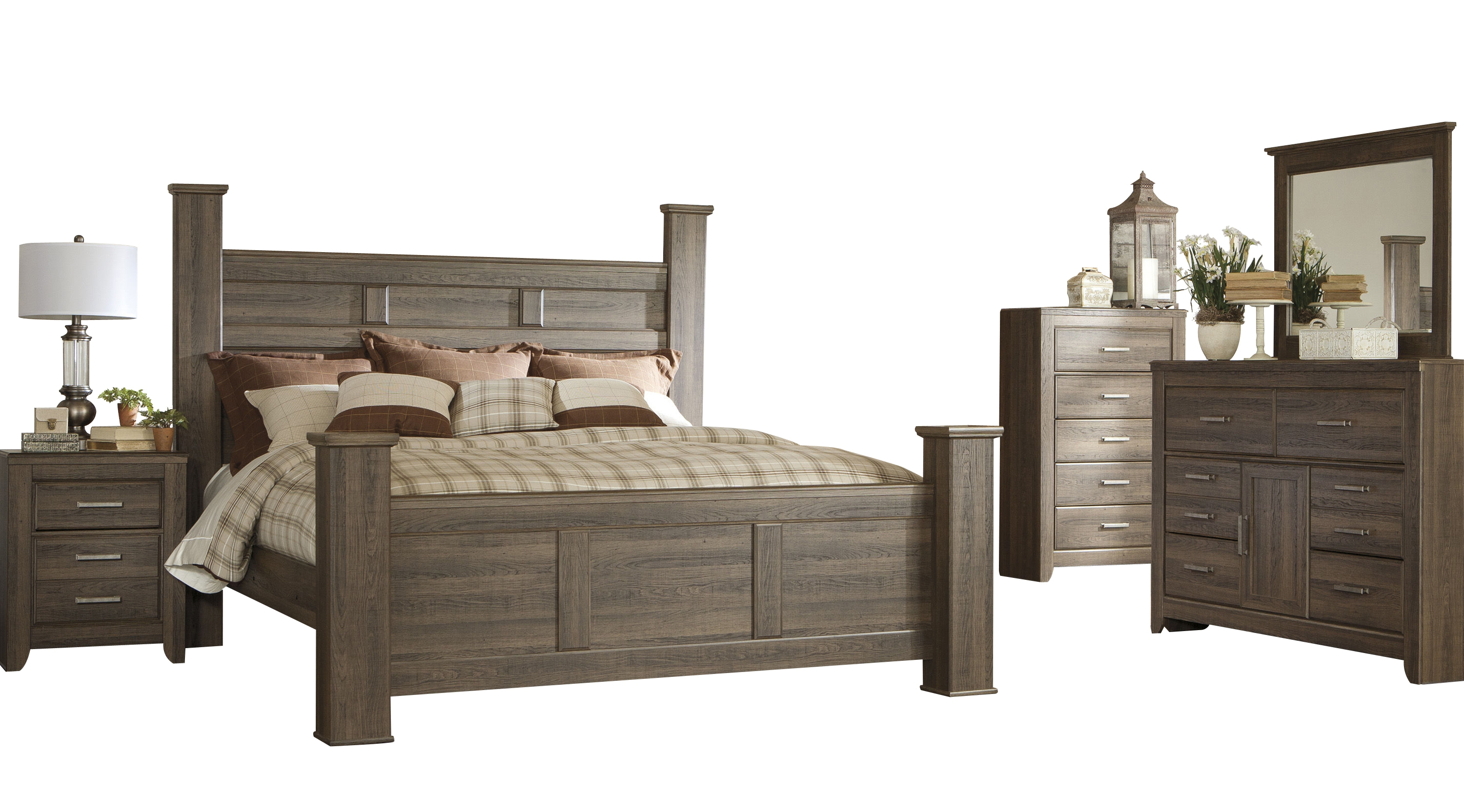 Ashley Furniture Juararo 2pc Bedroom Set with King Poster Bed | The ...