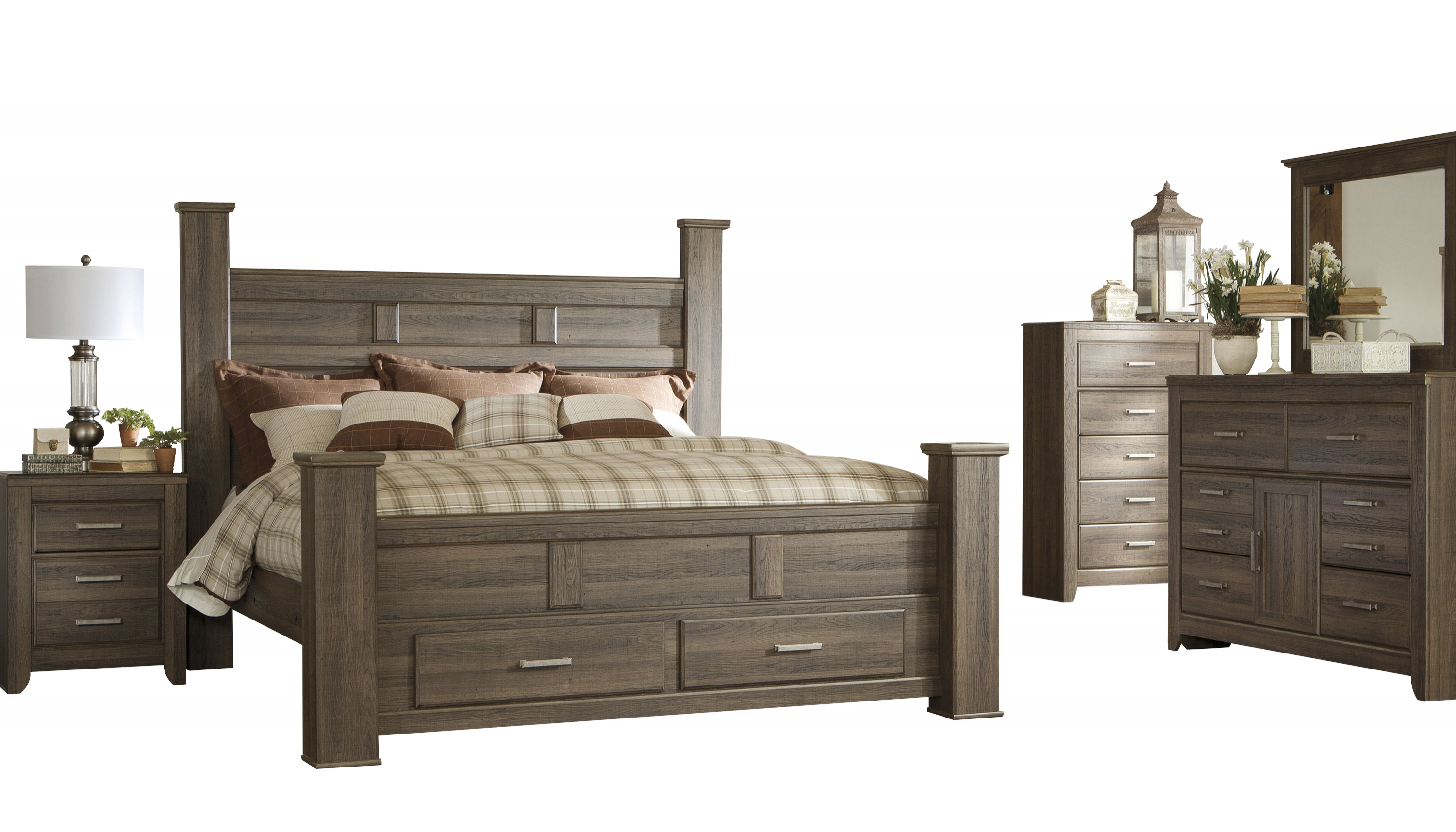 Ashley Furniture Juararo 2pc Bedroom Set With King Poster Storage Bed The Classy Home