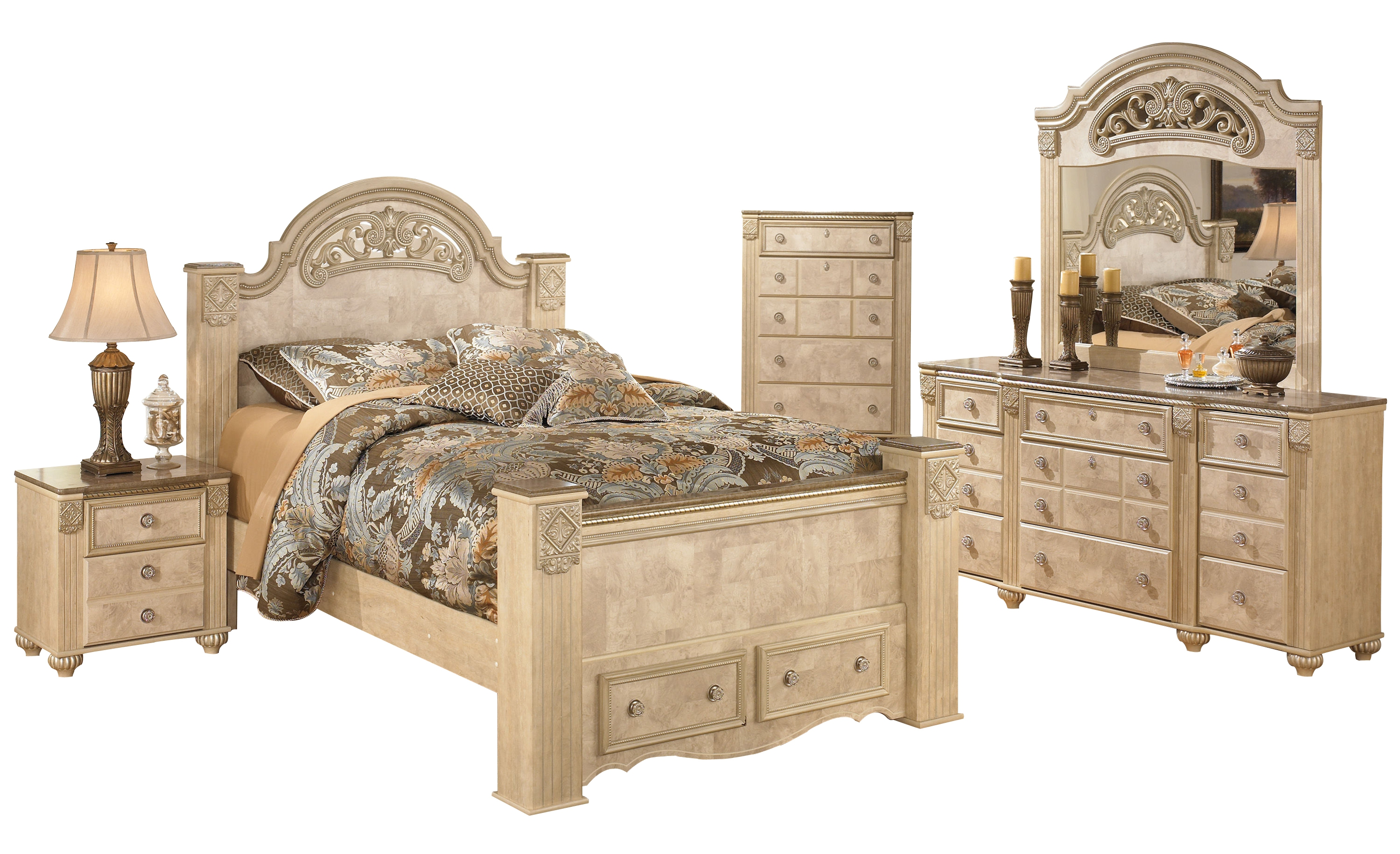 Saveaha Light Brown Wood 2pc Bedroom Set W Queen Poster