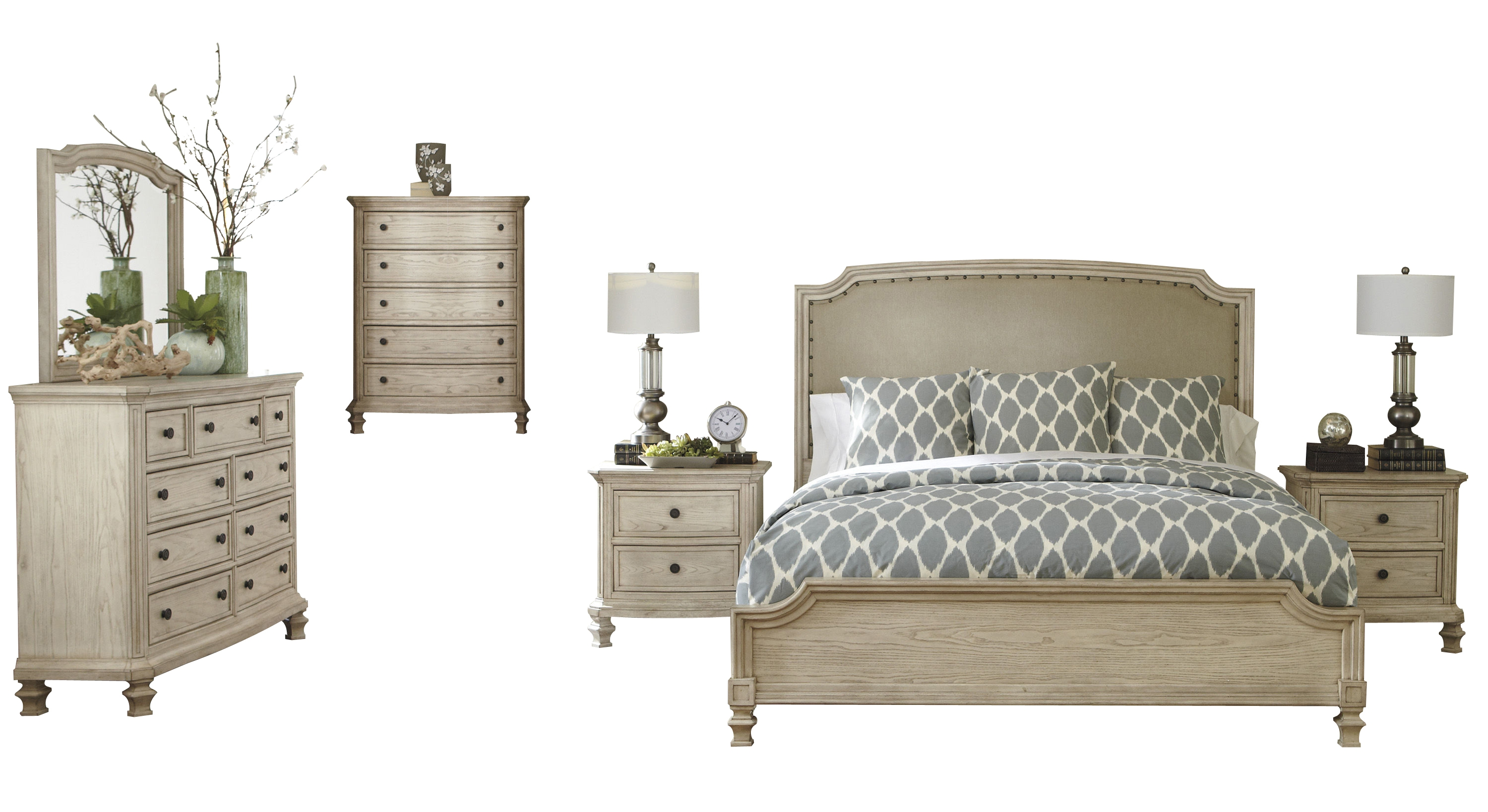 Demarlos Parchment White Wood Master Bedroom Set Bedrooms The Classy Home Best Deal Furniture