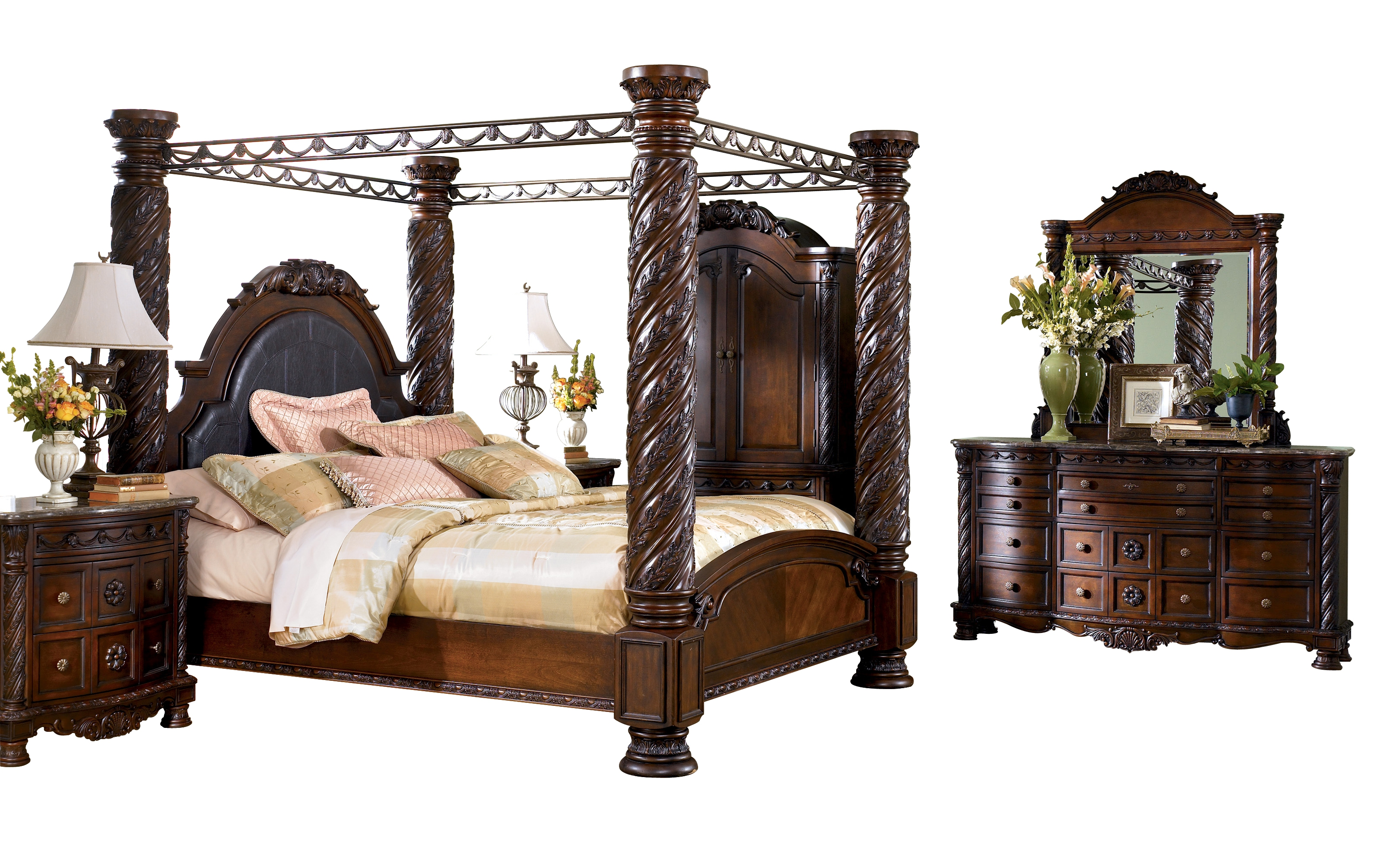 North Shore Traditional Dark Brown Wood Glass Master Bedroom Set Bedrooms The Classy Home