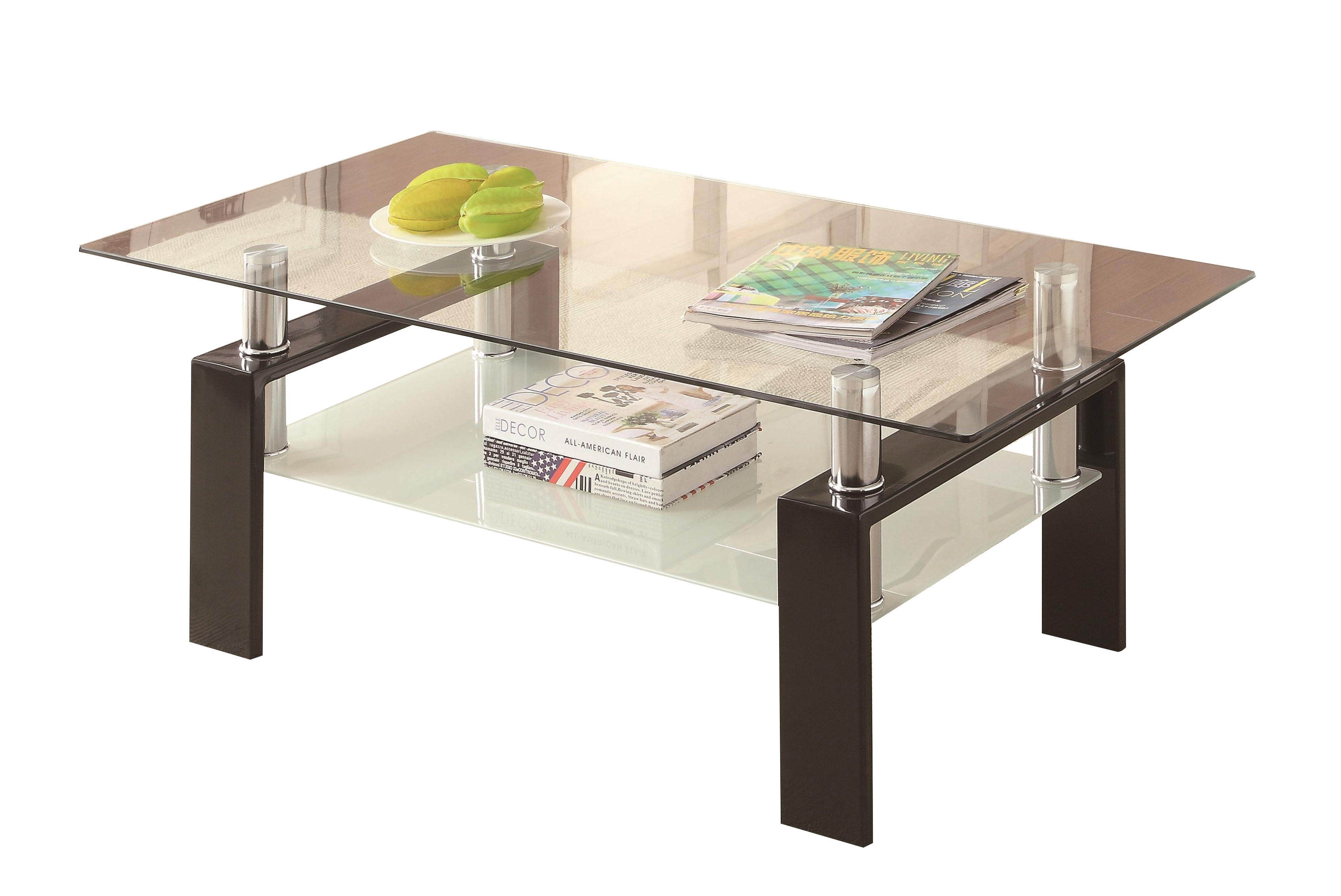 Contemporary Black Metal Glass Coffee Table