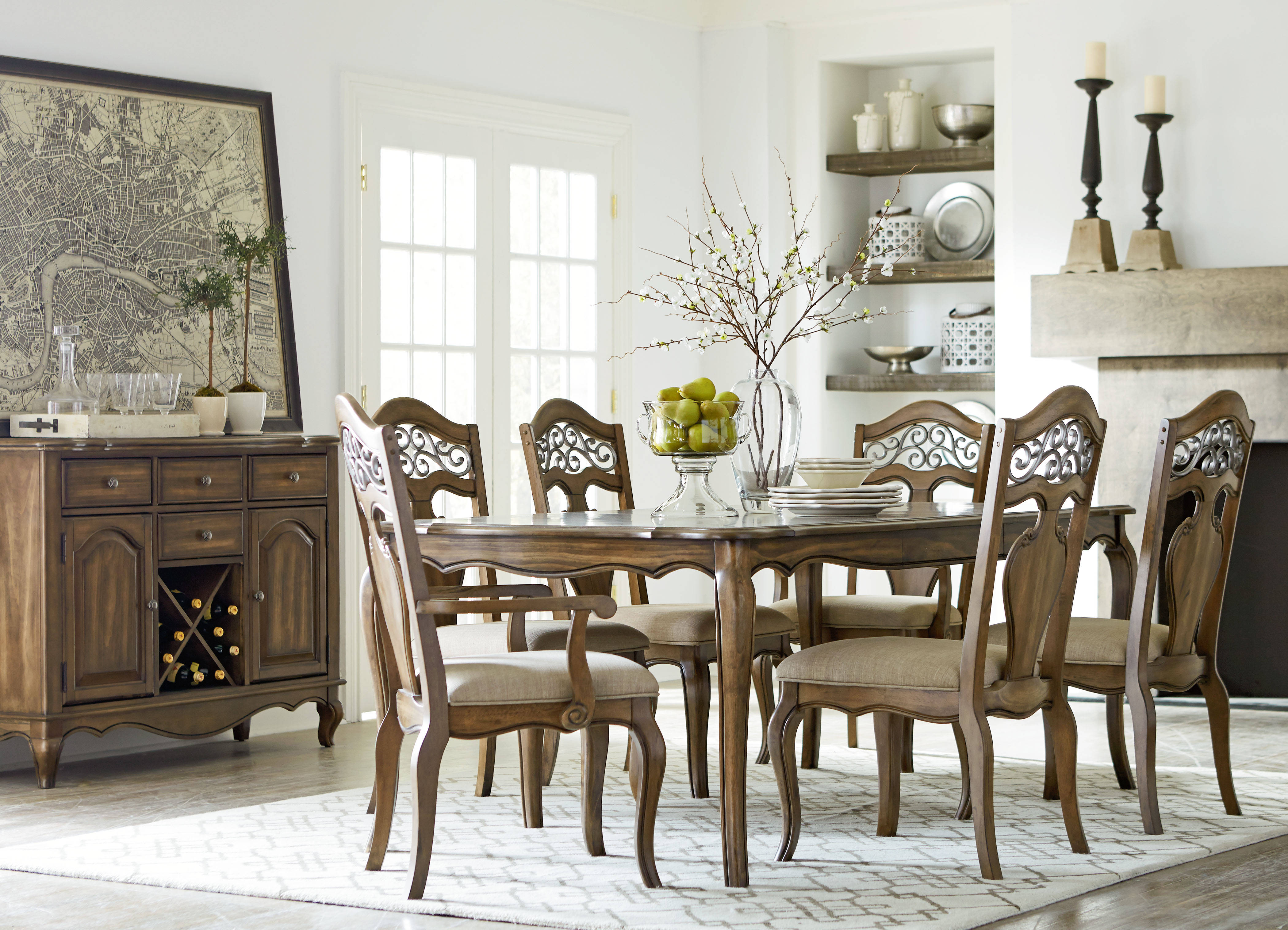 monterey caramel brown fabric solid wood 7pc dining room set | the