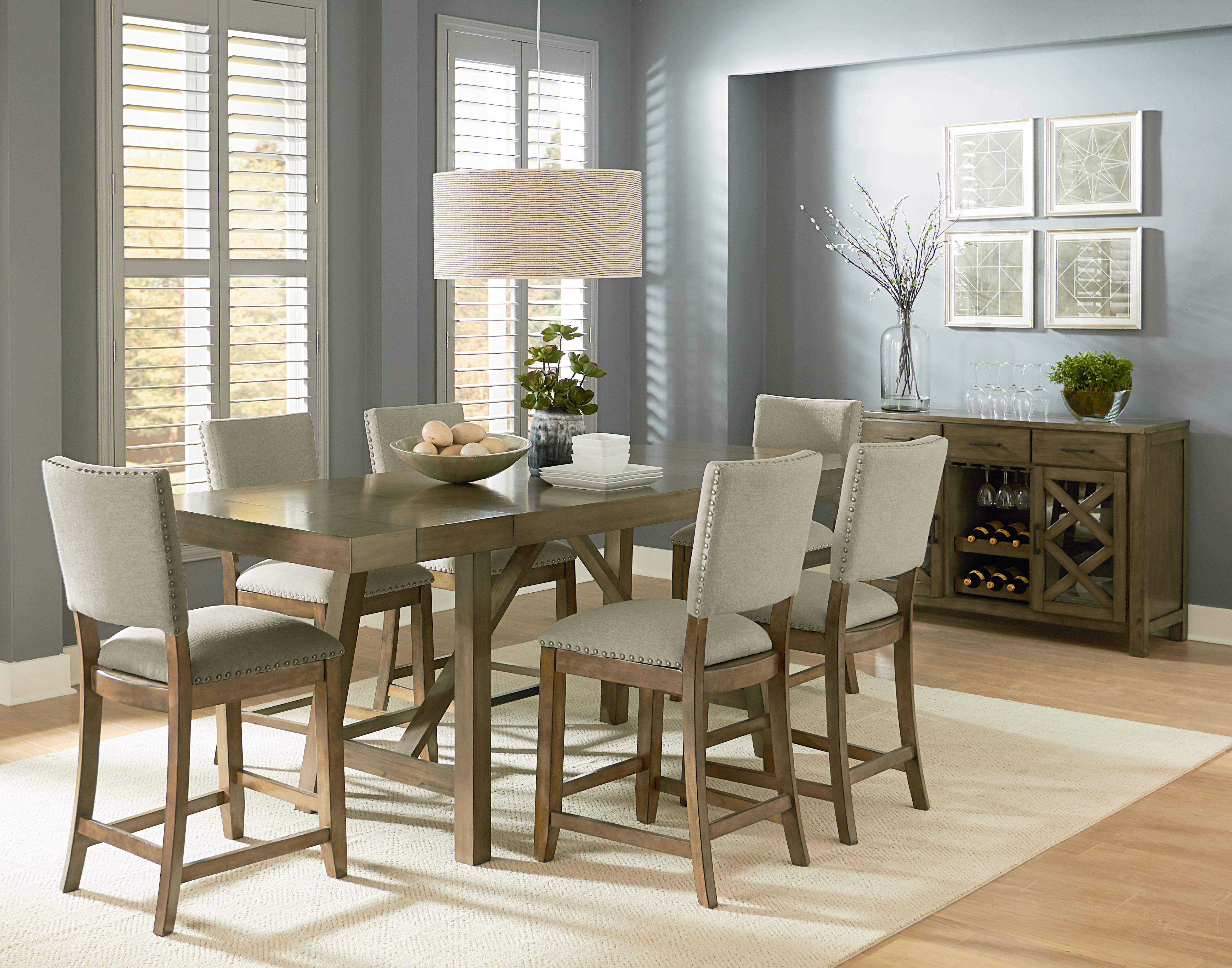 Standard Furniture Omaha Grey 7pc Counter Set With Upholster Stools The Classy Home