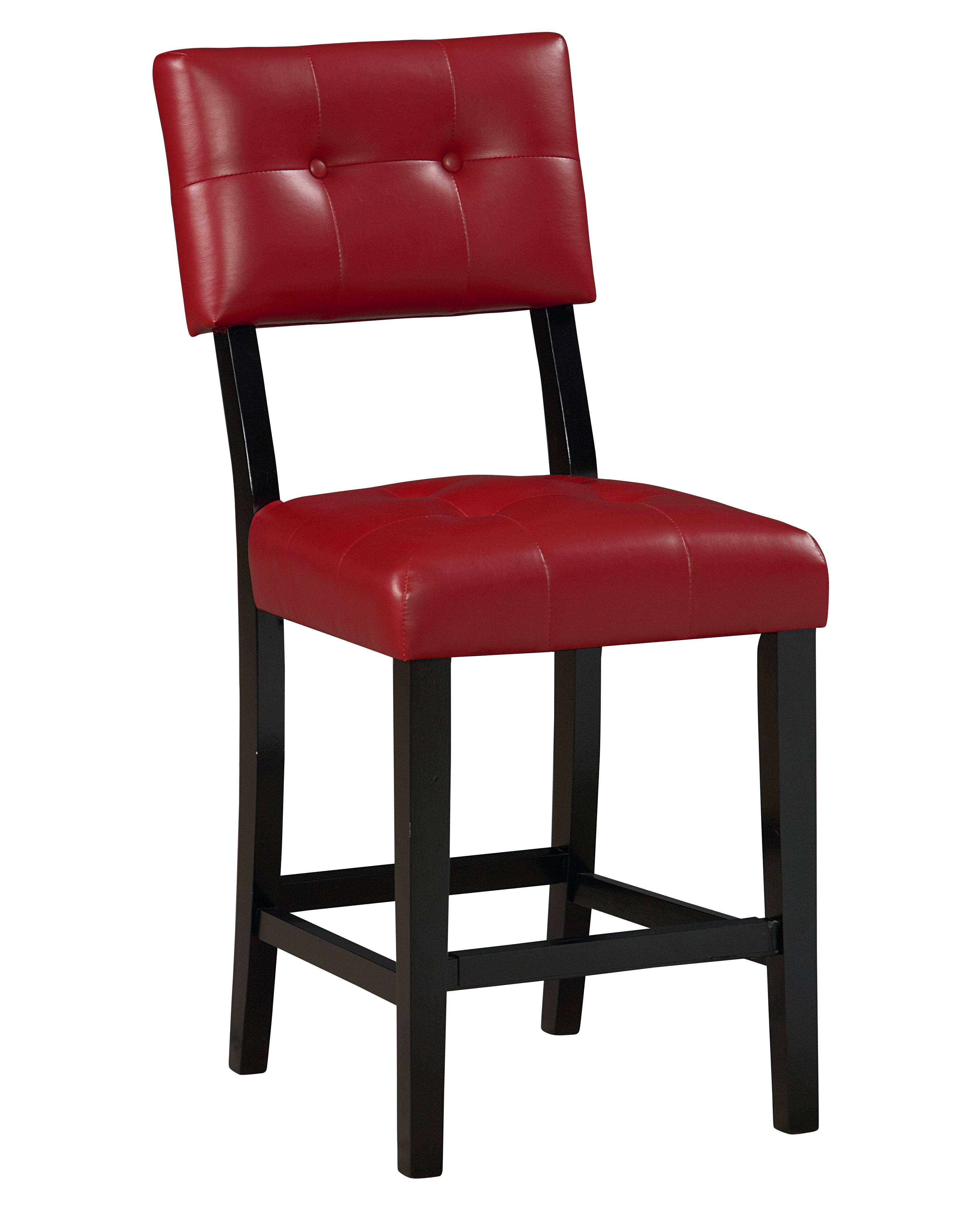 2 Miller Retro Red Pvc Wood Counter Height Stools The