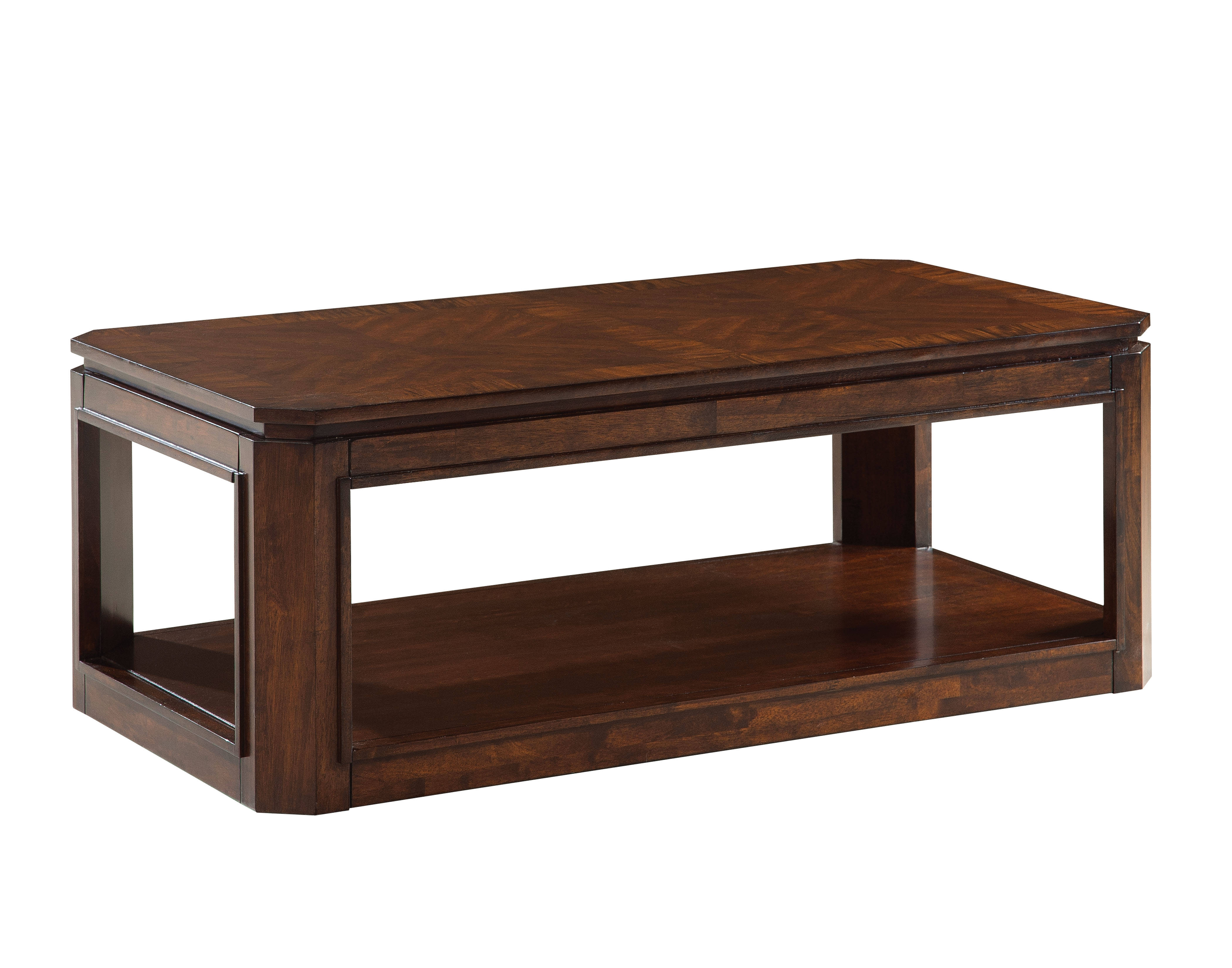 Avion Transitional Cherry Walnut Solid Rubberwood Cocktail Table The Classy Home