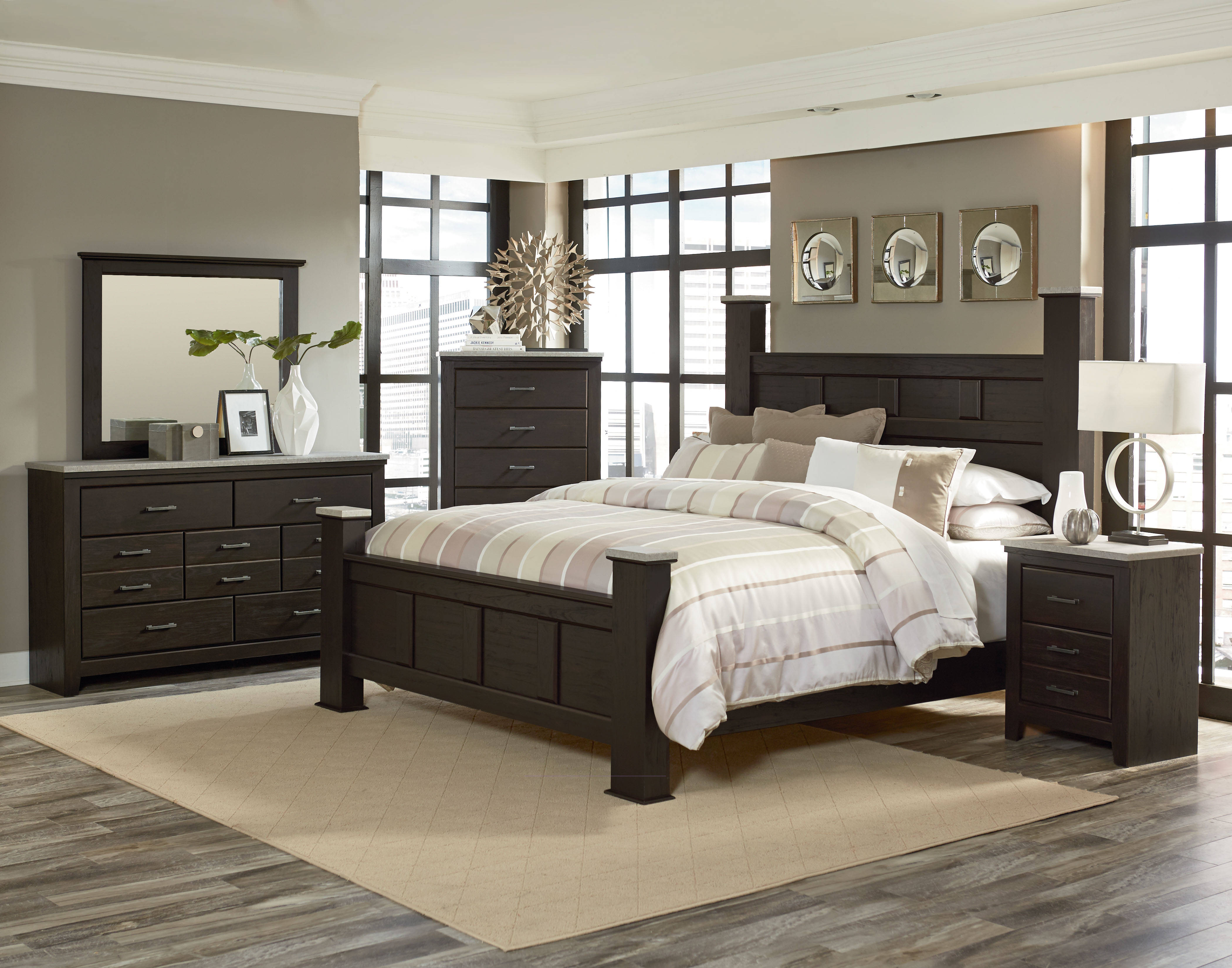Standard furniture stonehill brown 2pc bedroom set with for Bedroom designs with dark wood furniture