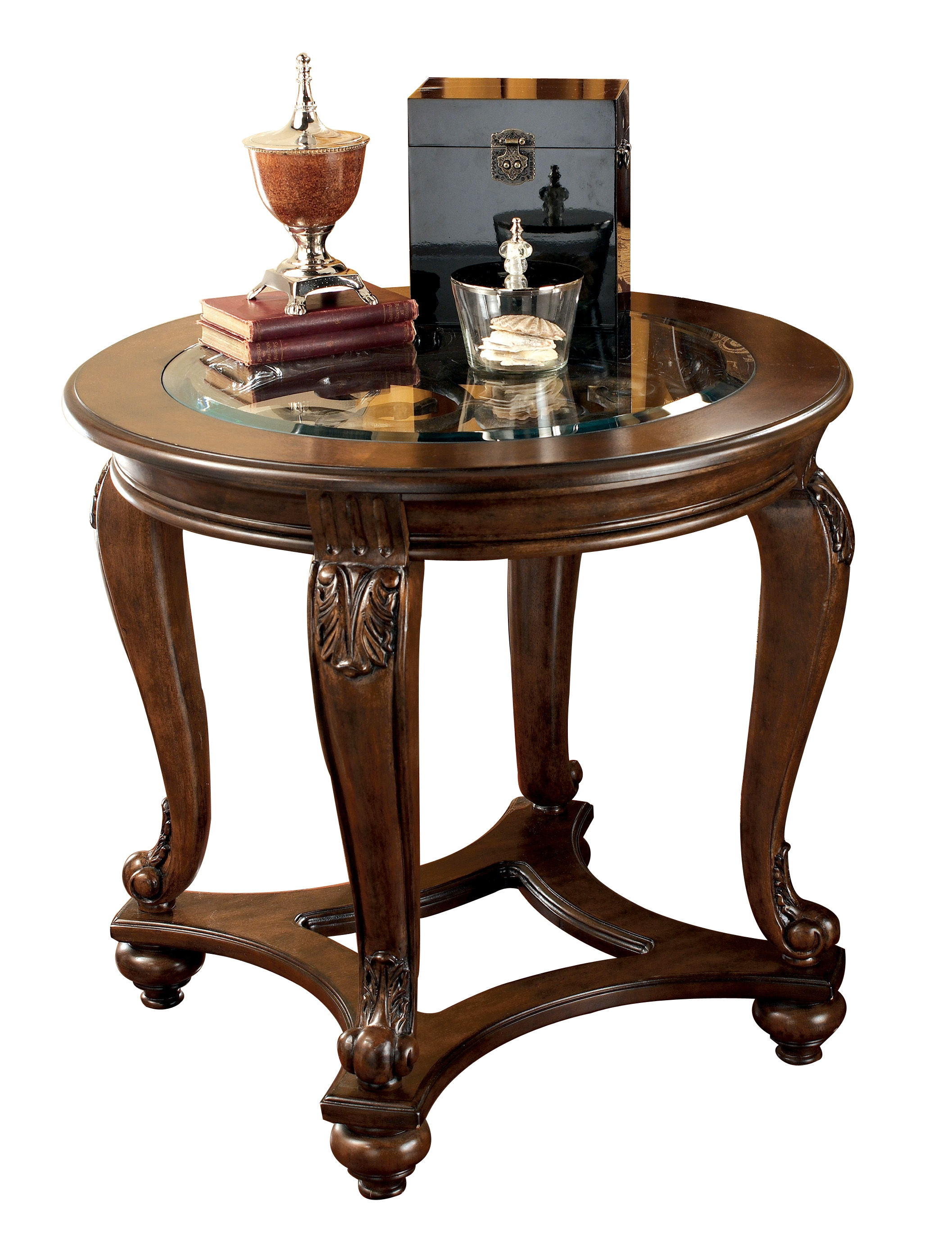 Norcastle Traditional Dark Brown Wood Glass End Table