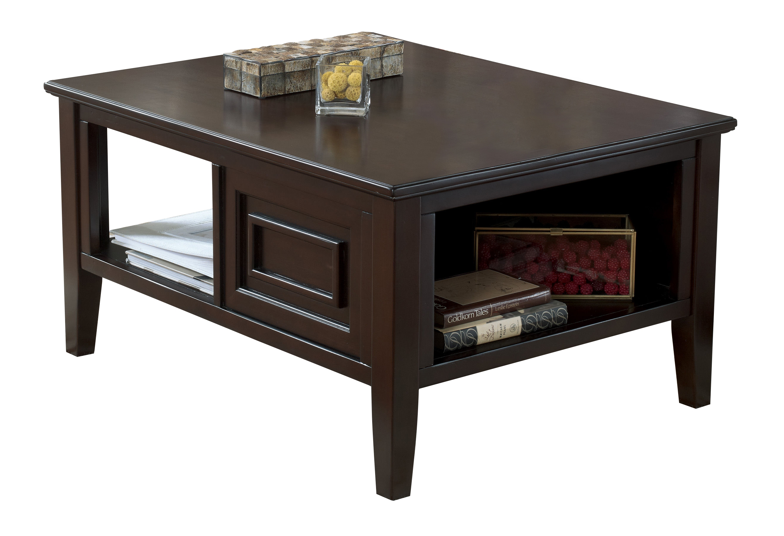 larimer contemporary dark brown wood coffee table set occasional tables the classy home. Black Bedroom Furniture Sets. Home Design Ideas