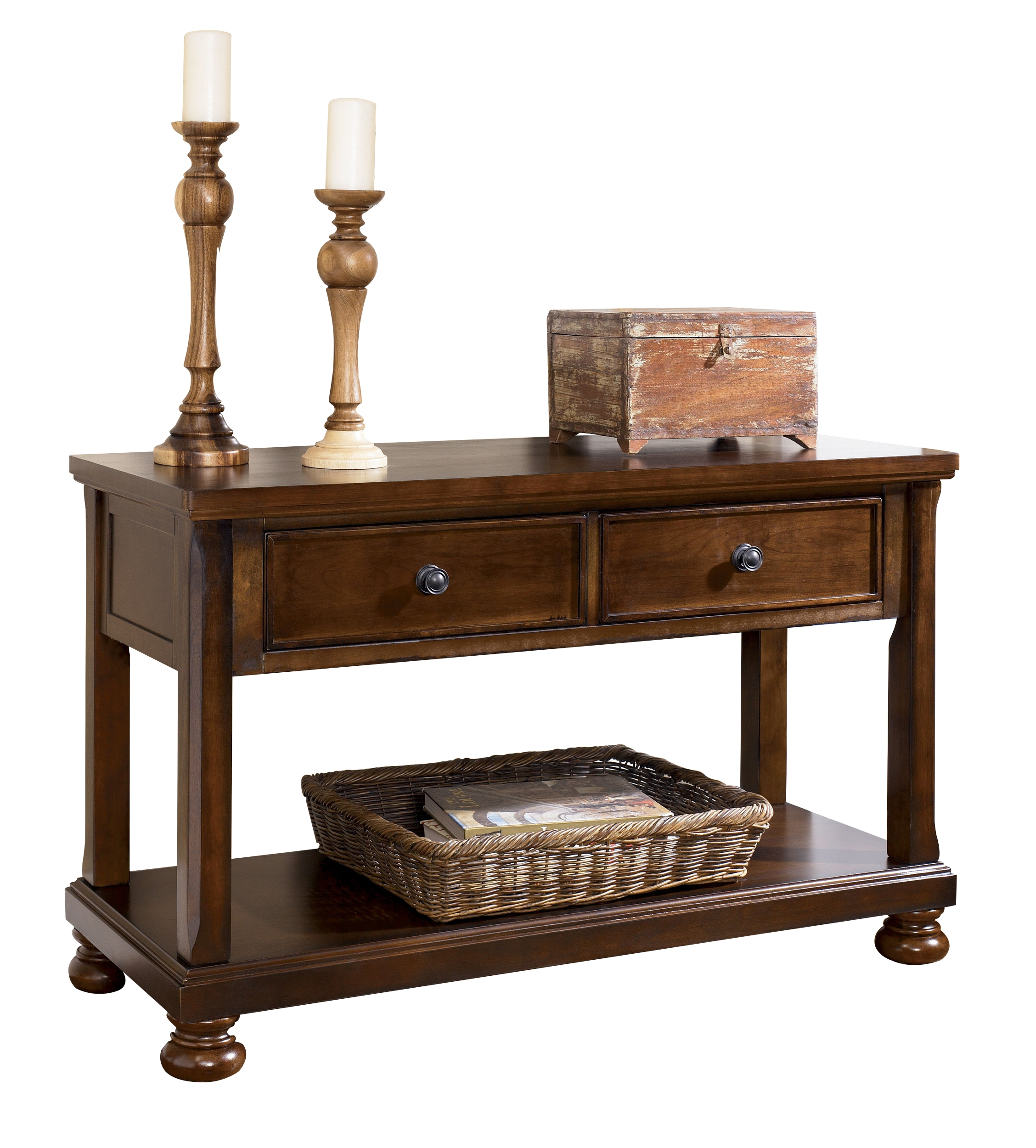 Porter Traditional Rustic Brown Wood Sofa Console Table W Storage