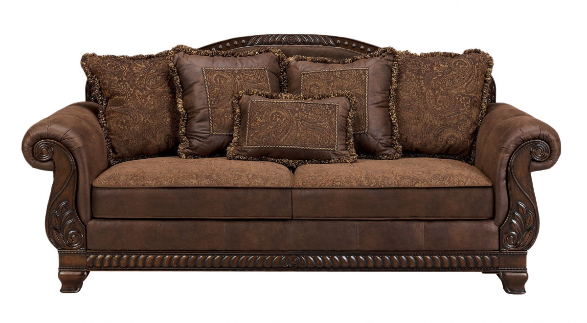 Bradington traditional truffle fabric sofa the classy home for Traditional settees living room furniture