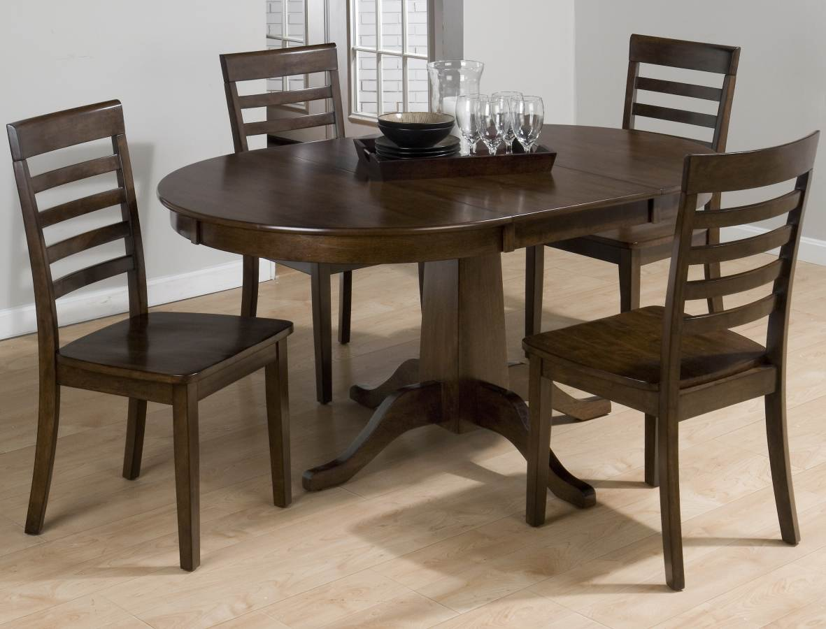 Contemporary Cherry Wood Round To Oval Dining Table Kitchen Dining