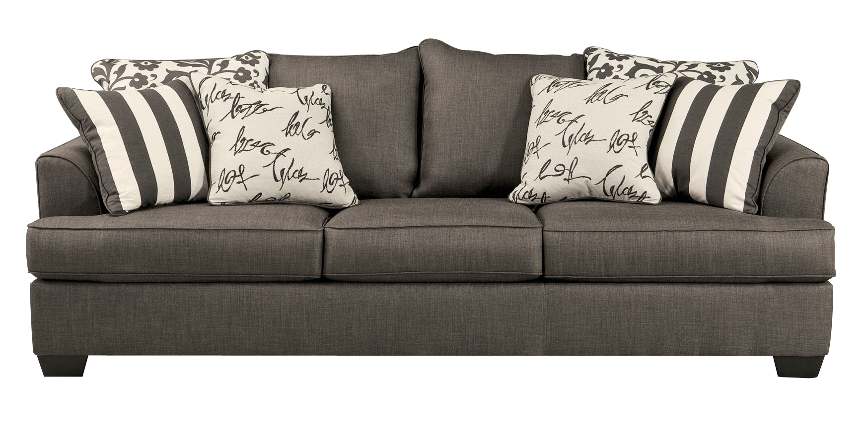 Levon Contemporary Charcoal Fabric Pillow Back Sofa Click To Enlarge ...