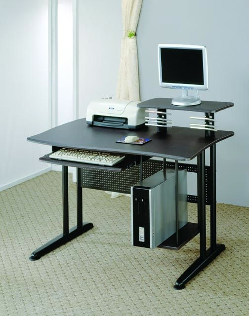 Classy Computer Tables To Go With Living Room Decor: Coaster Furniture Black Computer Desk With Marble Finish