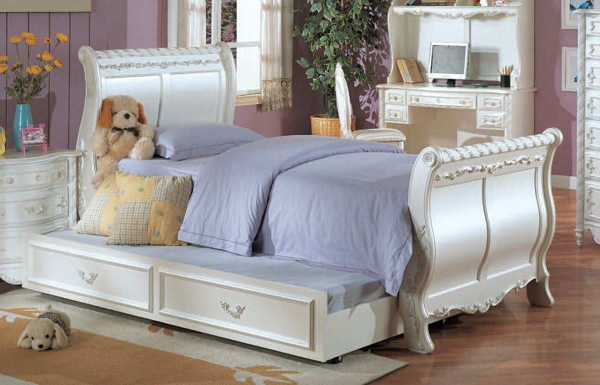 Acme furniture pearl white twin sleigh bed with trundle White twin trundle bedroom set