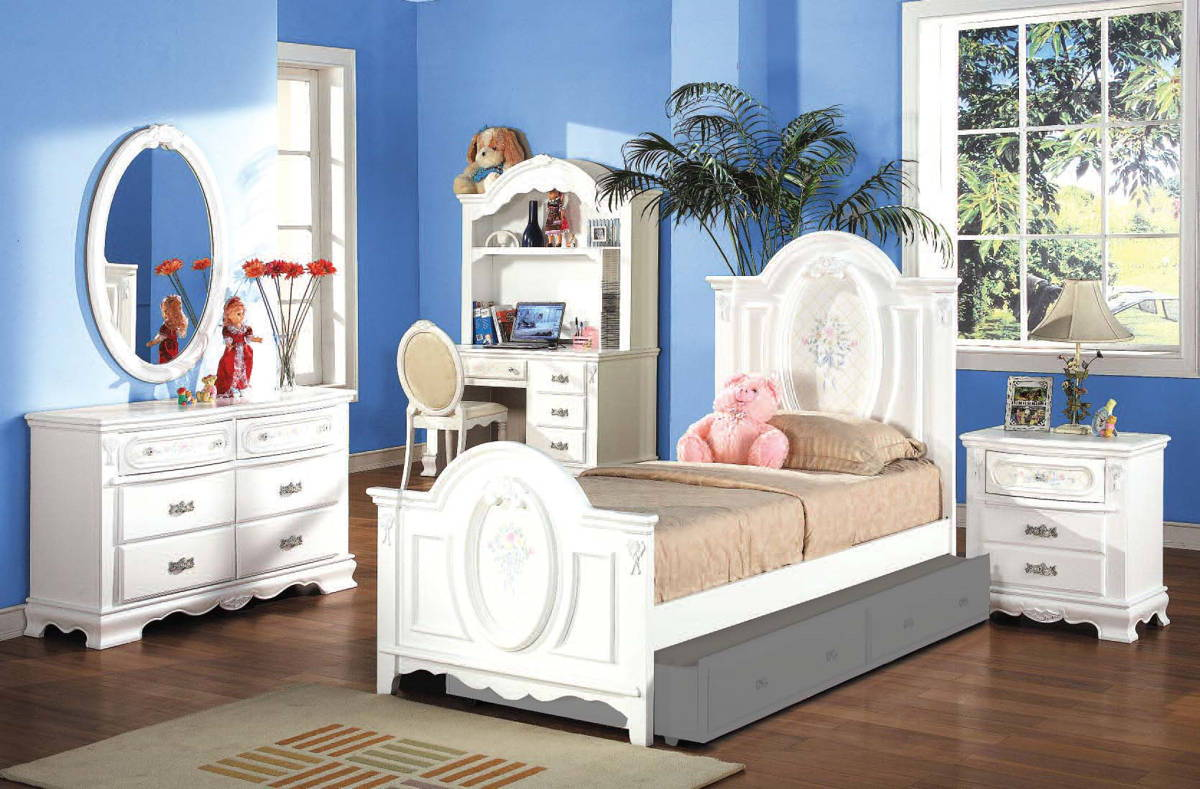 Acme furniture flora white 2pc bedroom set with twin panel for Good deals on bedroom sets