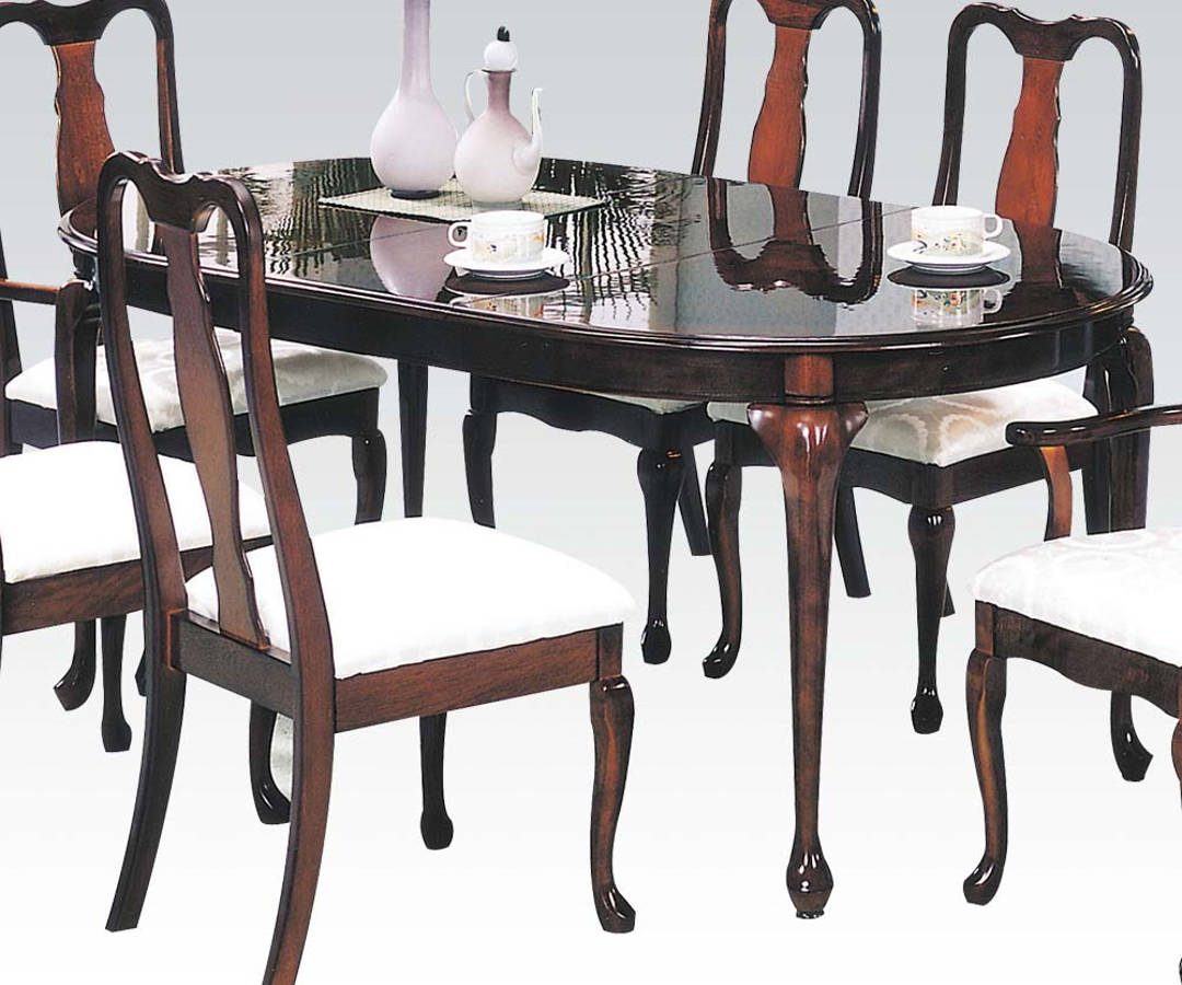 Cherrywood Dining Table: Queen Ann Cherry Wood Oval Extension Leaf Dining Table