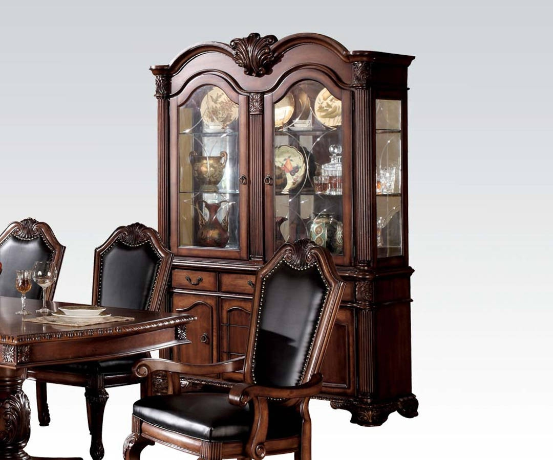 New Chateau Formal Traditional Rustic Cherry Finish Wood: Chateau De Ville Traditional Cherry Wood Glass Hutch