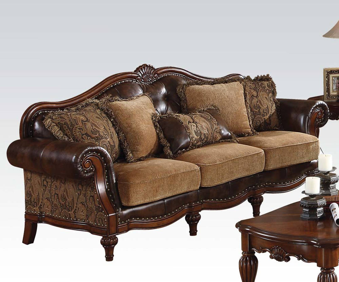 Pillows Traditional Sofa: Acme Furniture Dreena Chenille Sofa With Five Pillows