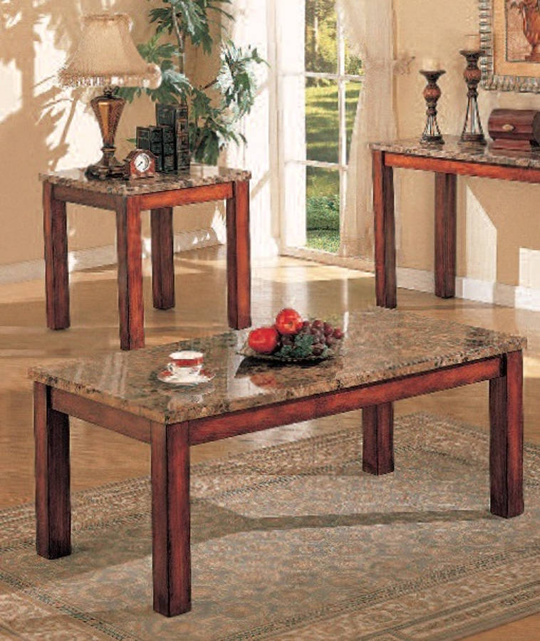 Bologna Brown Cherry Marble Wood Coffee Table Set The Classy Home