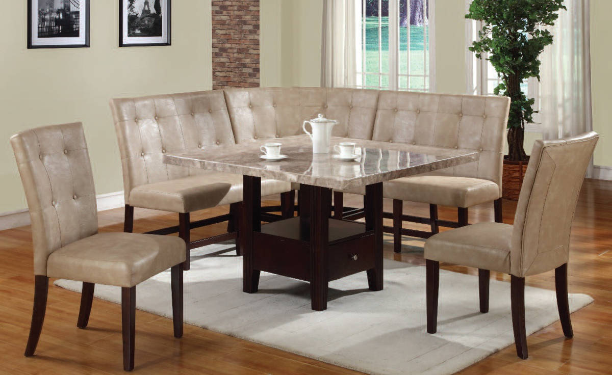 Britney Casual Cream Walnut PU Wood 6pc Dining Room Set | The Classy Home