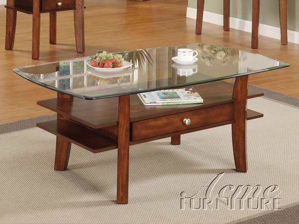 Karlyn Wood Base Gl Top Coffee Table
