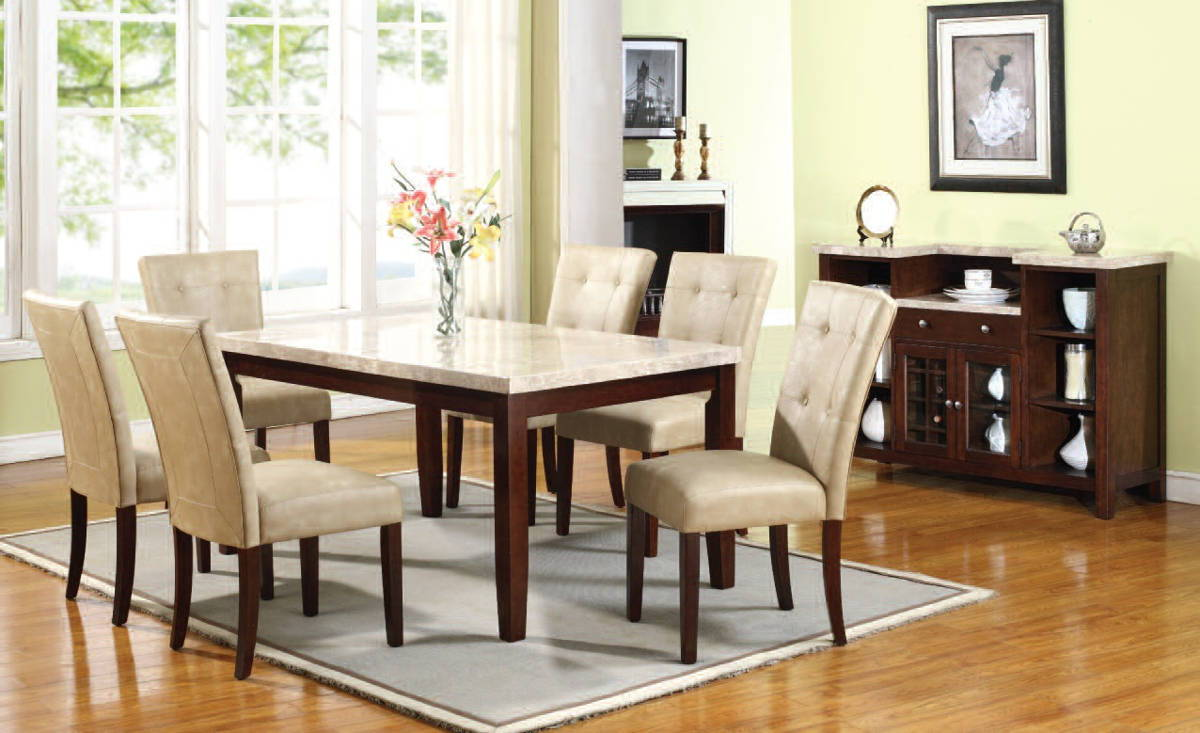 britney cream white walnut marble pu wood 6pc dining room