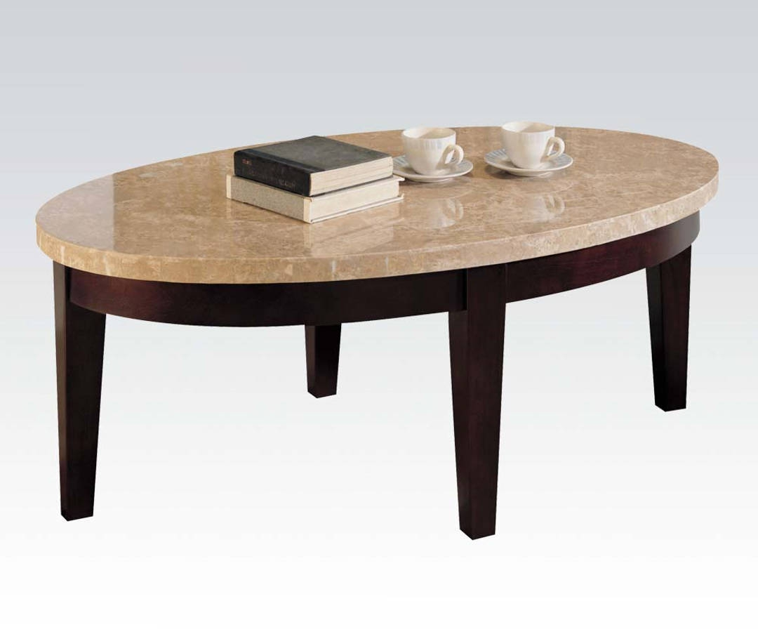 White Walnut Coffee Table: Britney Transitional White Walnut Marble Wood Oval Coffee