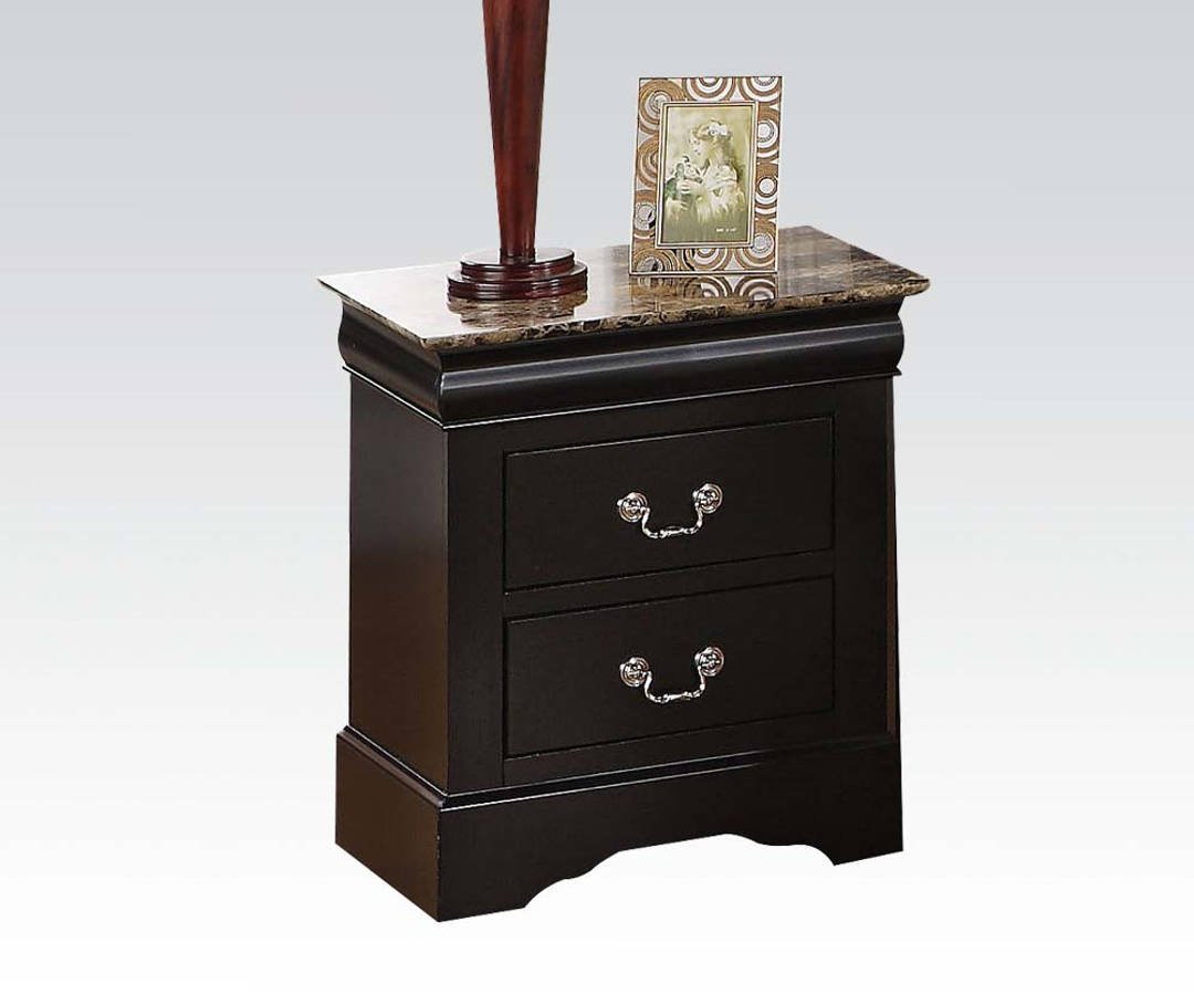 Louis Philippe Iii Casual Black Wood Faux Marble Top
