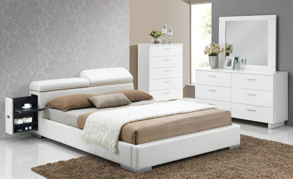 manjot white pu wood glass master bedroom set the classy 11698 | acm 20414ck 22634 35 drmr