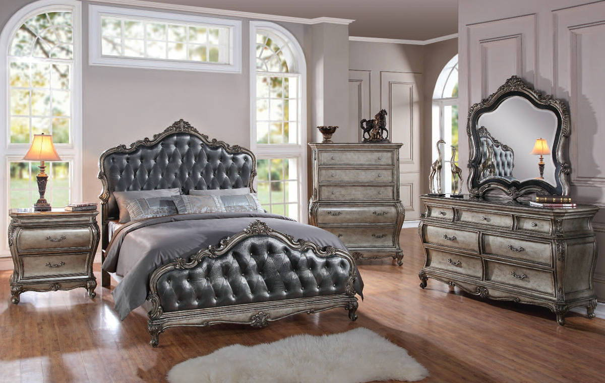 Chantelle platinum silver gray fabric wood master bedroom sets bedrooms the classy home No dresser in master bedroom