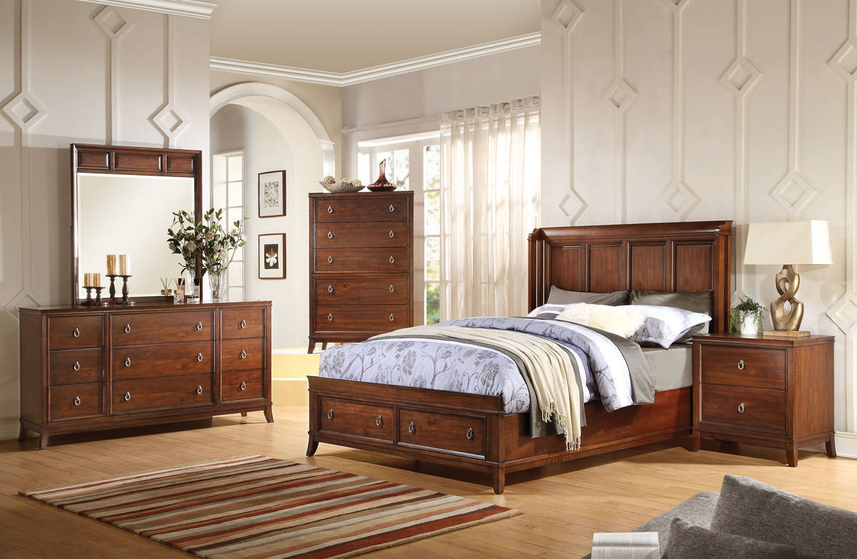 Midway Transitional Cherry Wood Master Bedroom Set Bedrooms The Classy Home Best Deal