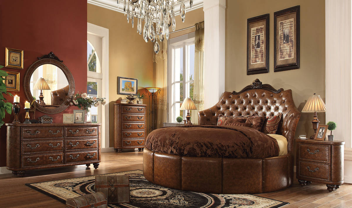 Varada Crescent Brown Cherry Pu Round 5pc Bedroom Set W 87