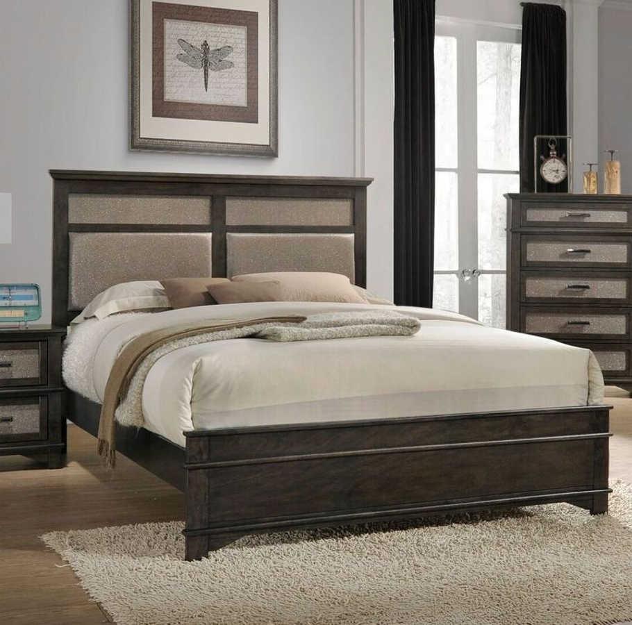 Acme furniture anatole dark walnut padded headboard queen bed the classy home