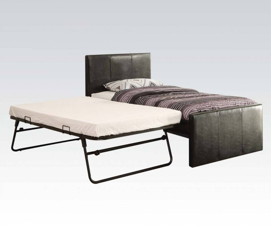 Jandale Black Wood PU Twin Bed & Trundle ACM-30480T