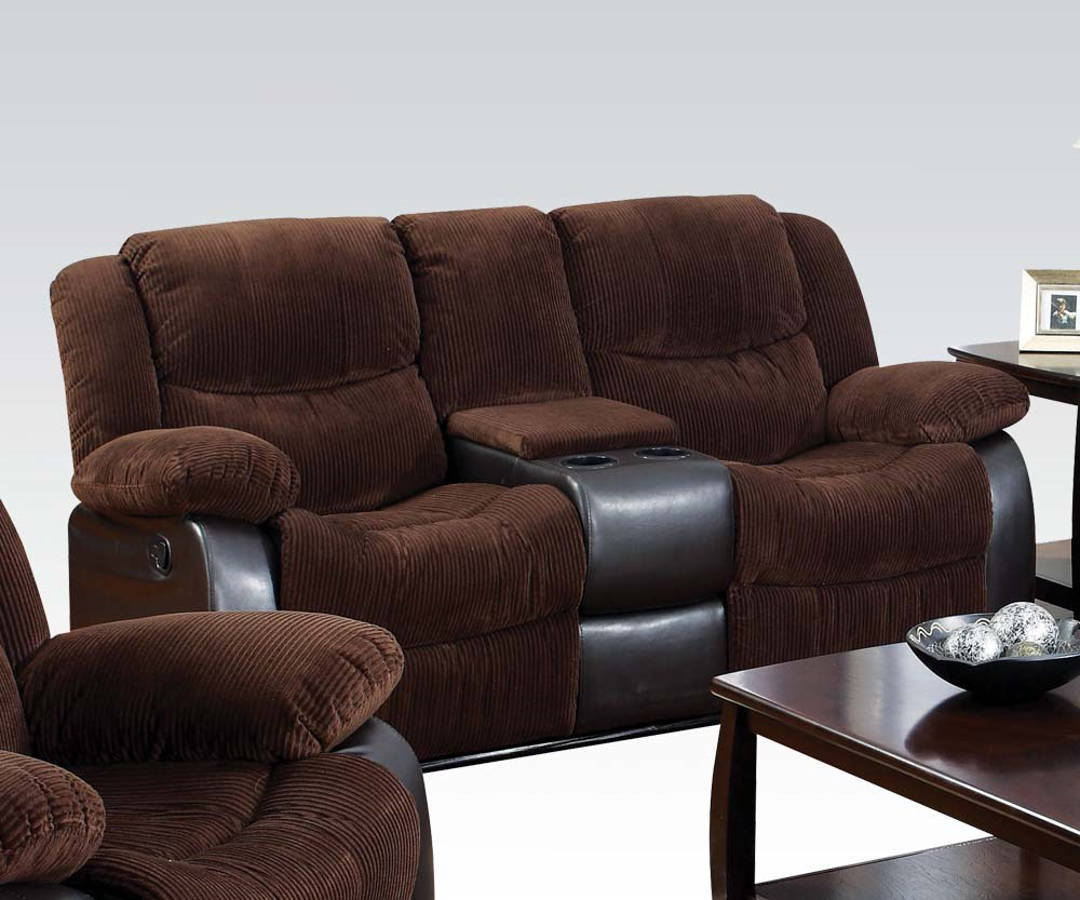 Acme Furniture Bernal Console And Cup Holder Motion Loveseat The Classy Home: loveseat with cup holders