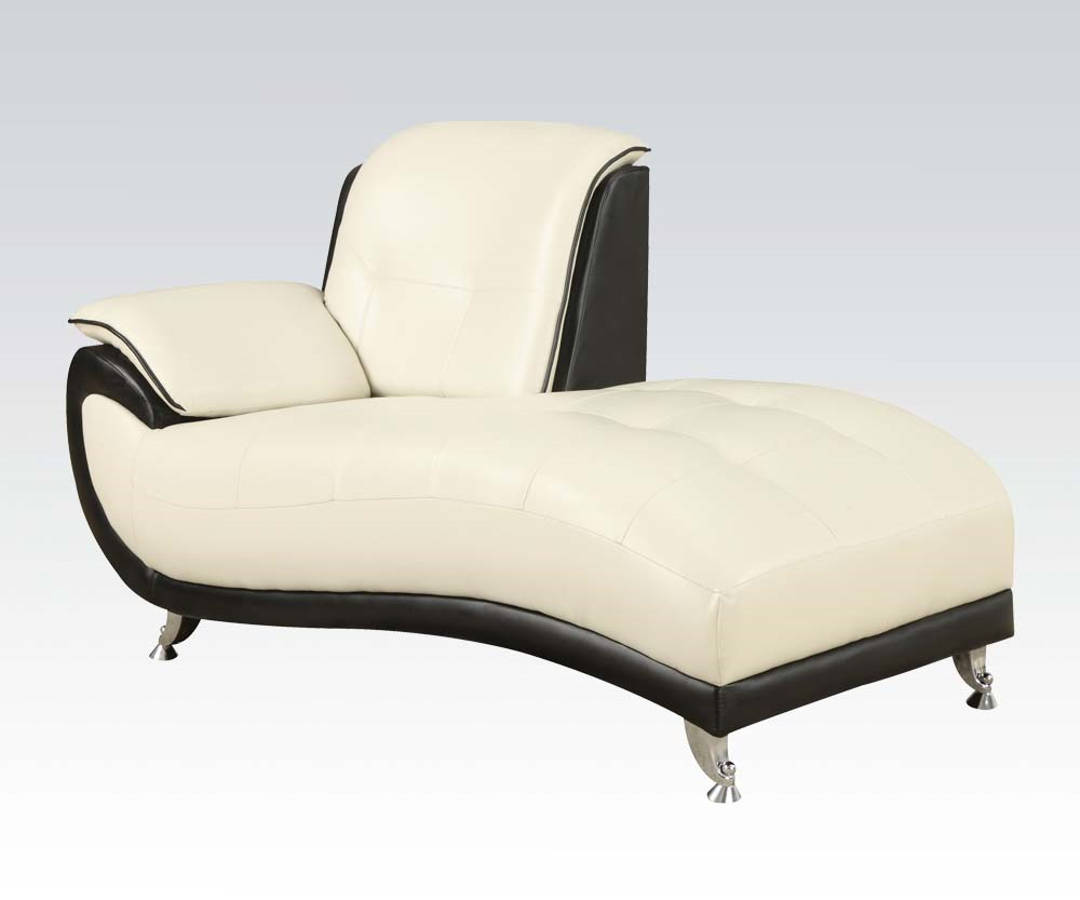Olivette black cream bonded leather chaise the classy home for Bonded leather chaise