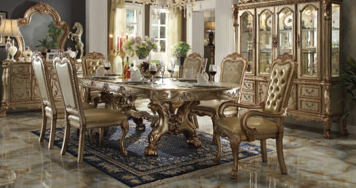 Acme Furniture Dresden Gold Patina 7pc Dining Room Set